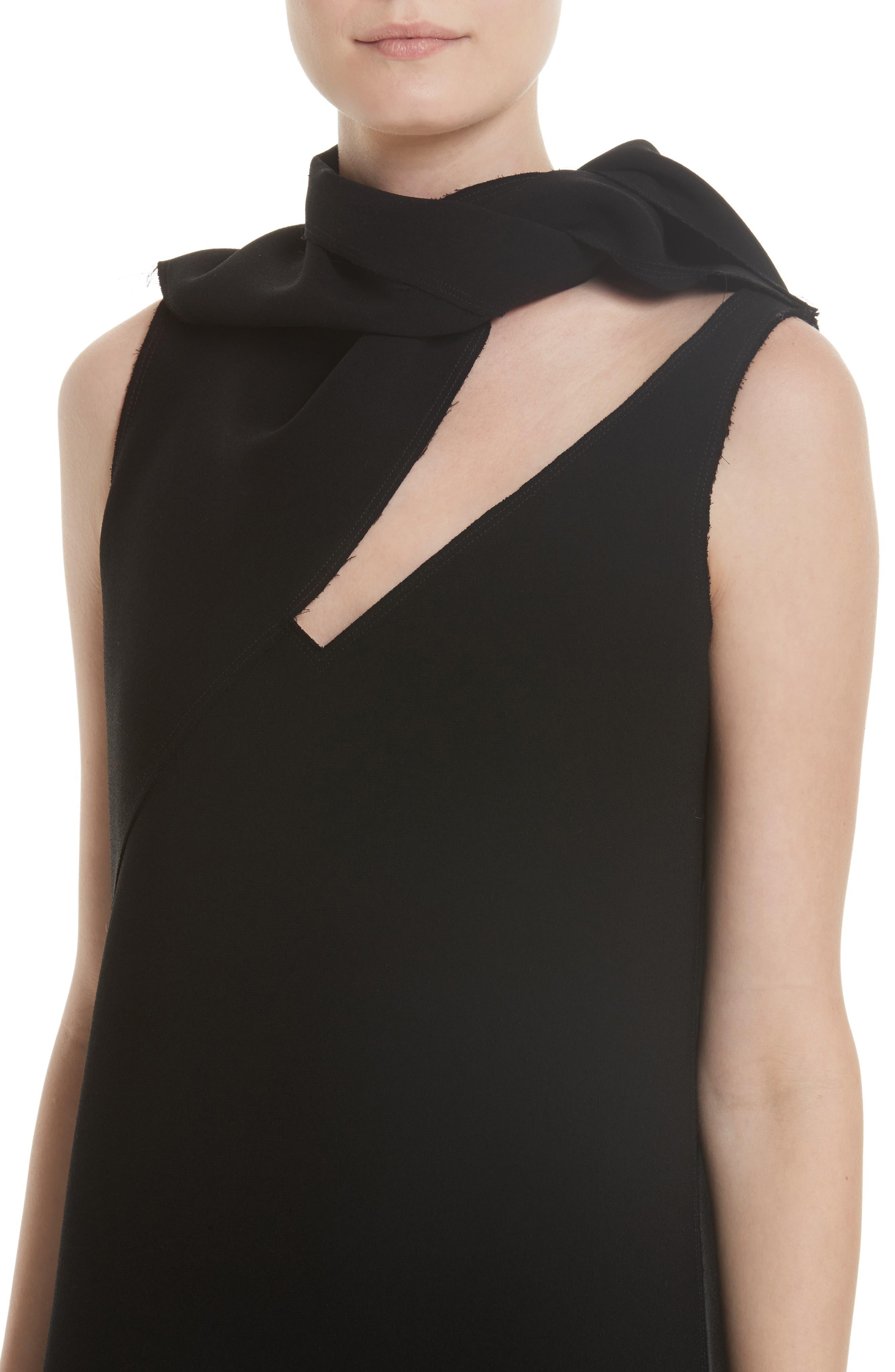 Knotted Neckline Drop Waist Dress,                             Alternate thumbnail 5, color,                             Black