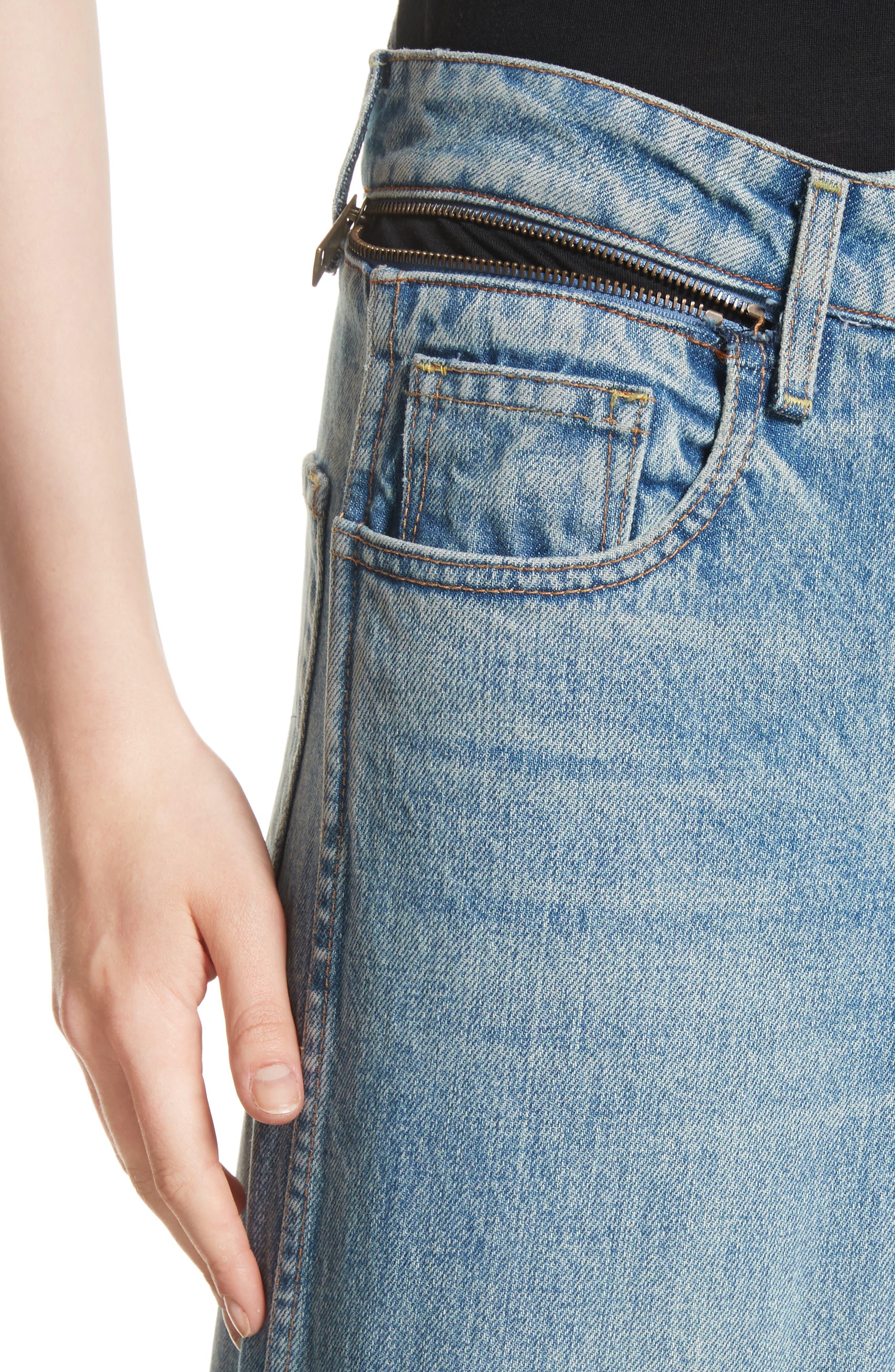 Shifted Zip Crop Wide Leg Jeans,                             Alternate thumbnail 4, color,                             Blue