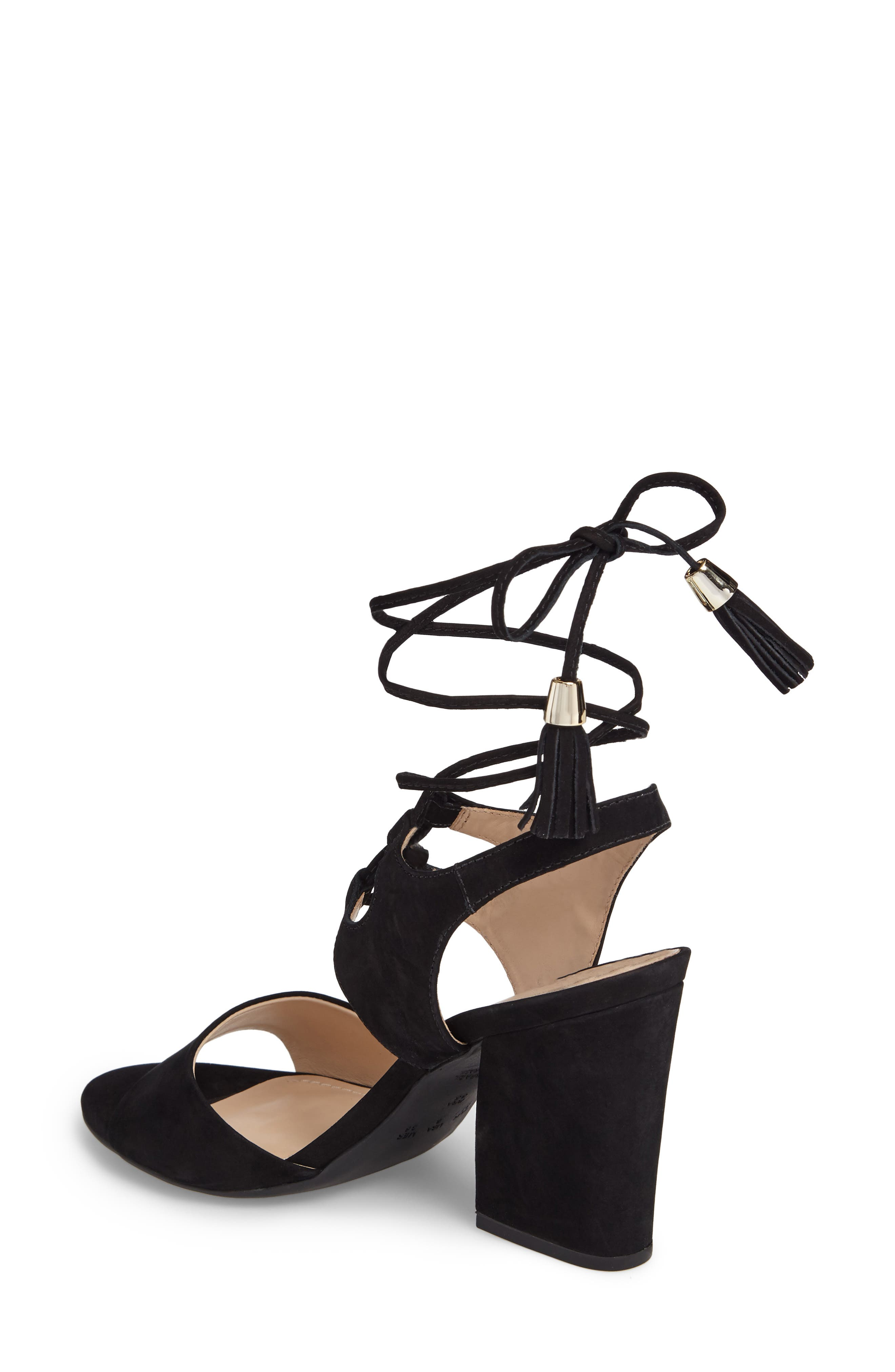 Kaira Ankle Wrap Sandal,                             Alternate thumbnail 2, color,                             Black Nubuck Leather