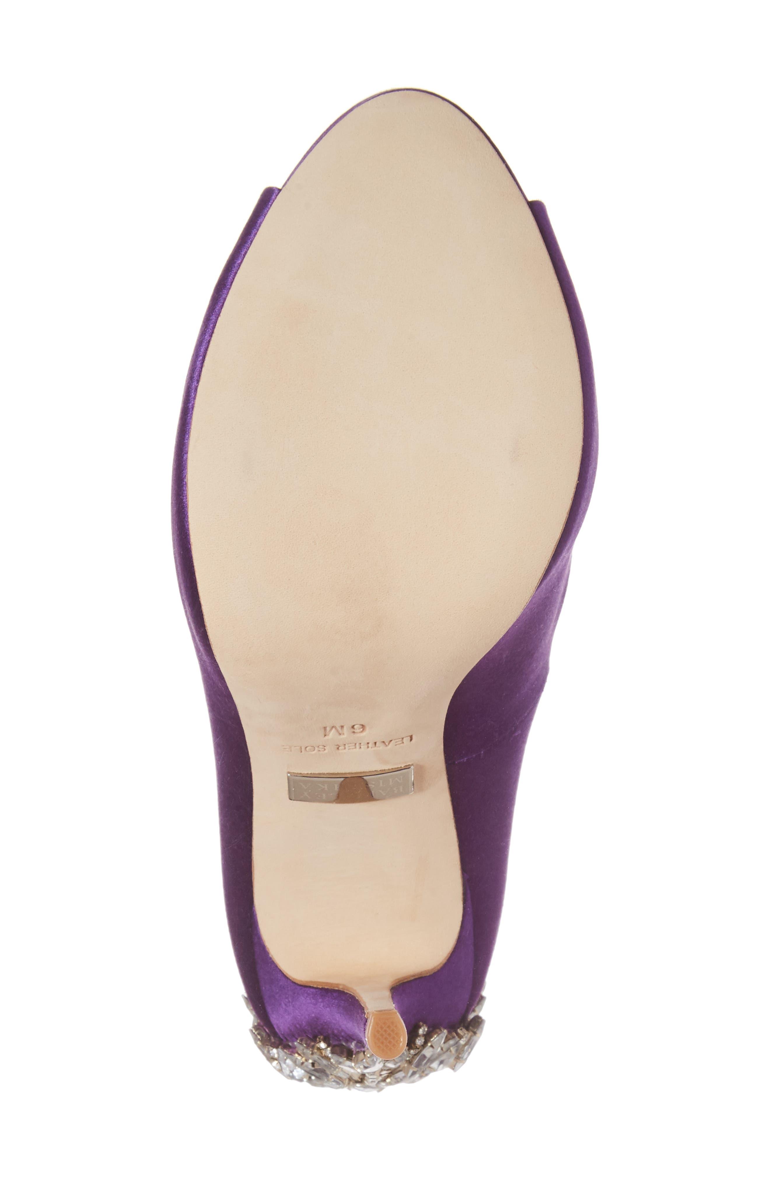 'Kiara' Crystal Back Open Toe Pump,                             Alternate thumbnail 6, color,                             Purple Satin