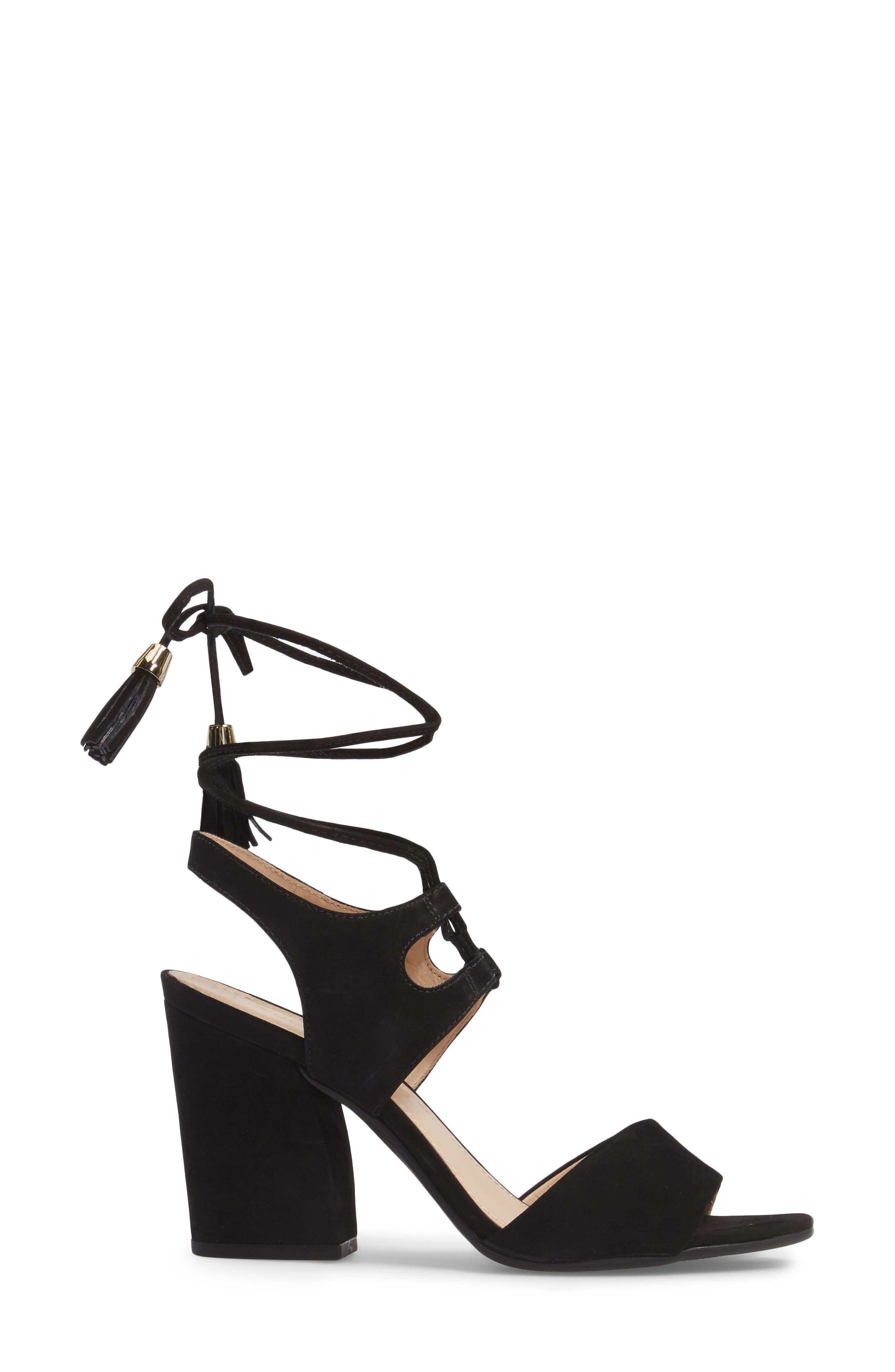 Kaira Ankle Wrap Sandal,                             Alternate thumbnail 3, color,                             Black Nubuck Leather