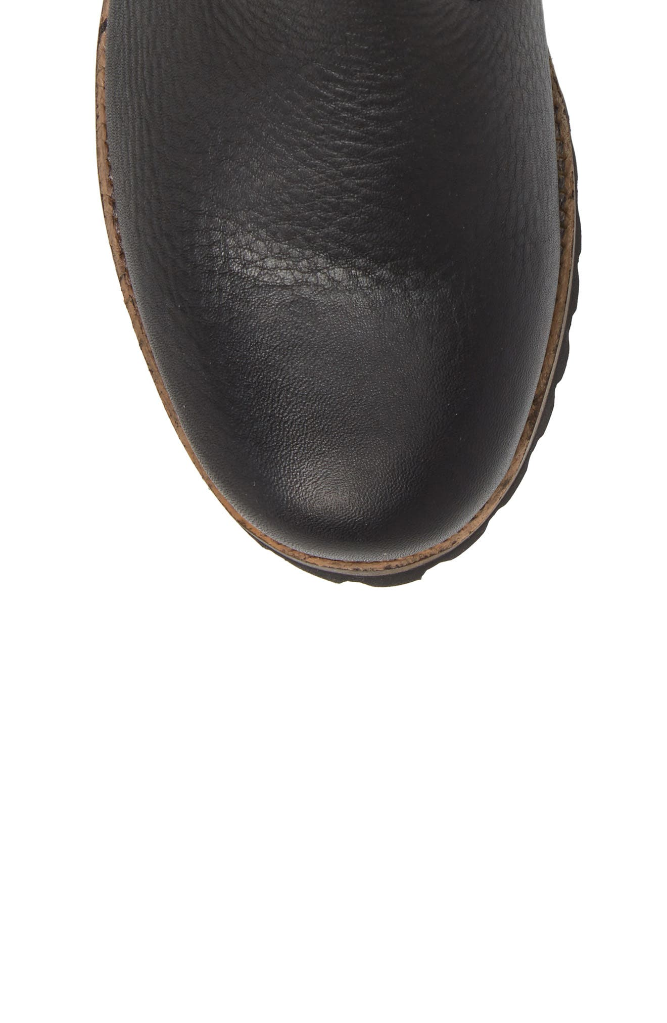 OL06 Genuine Shearling Lined Bootie,                             Alternate thumbnail 5, color,                             Black Leather