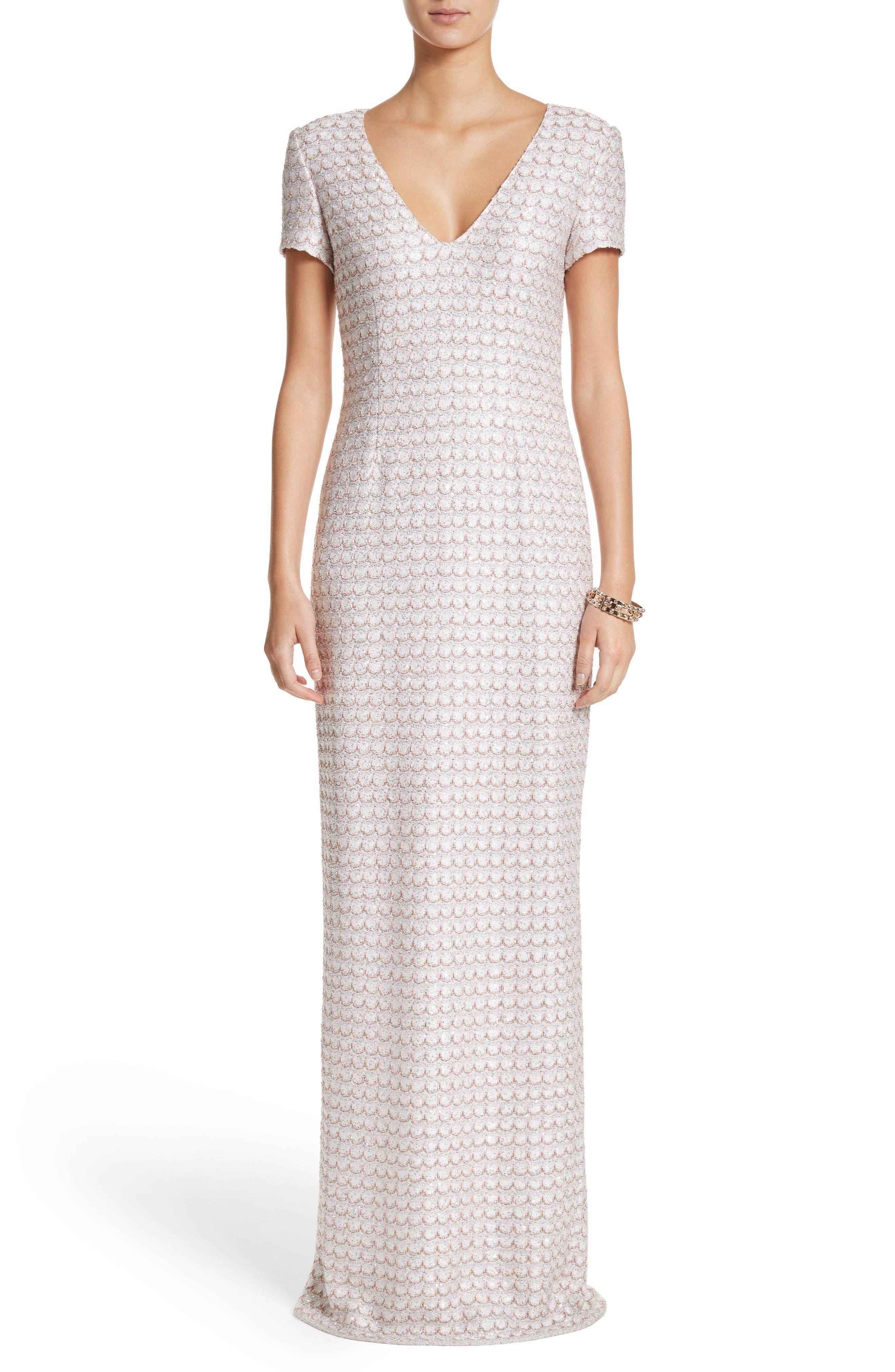 St. John Evening Sequin Scallop Knit Column Gown