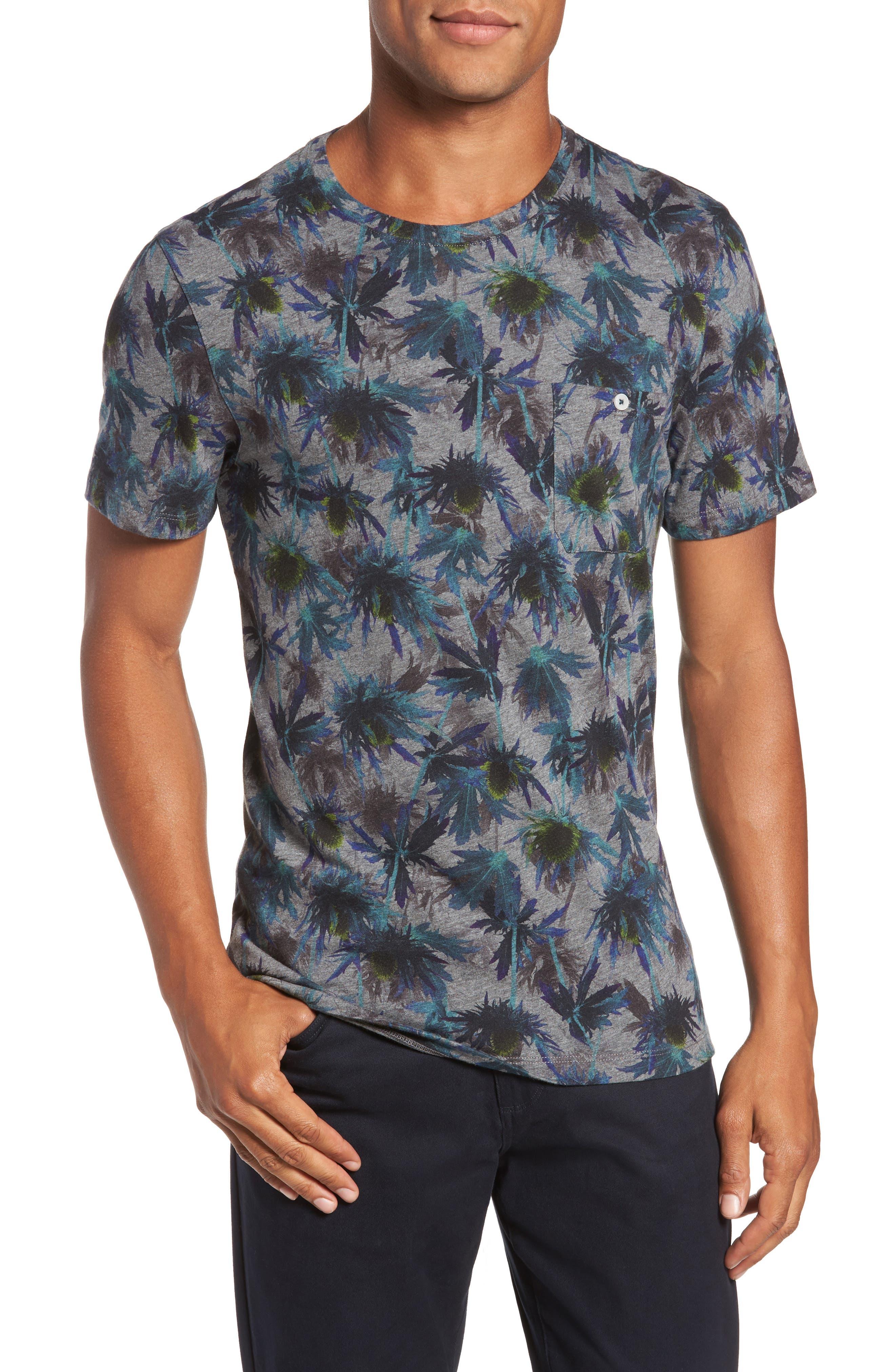 Katatak Thistle Print T-Shirt,                             Main thumbnail 1, color,                             Grey