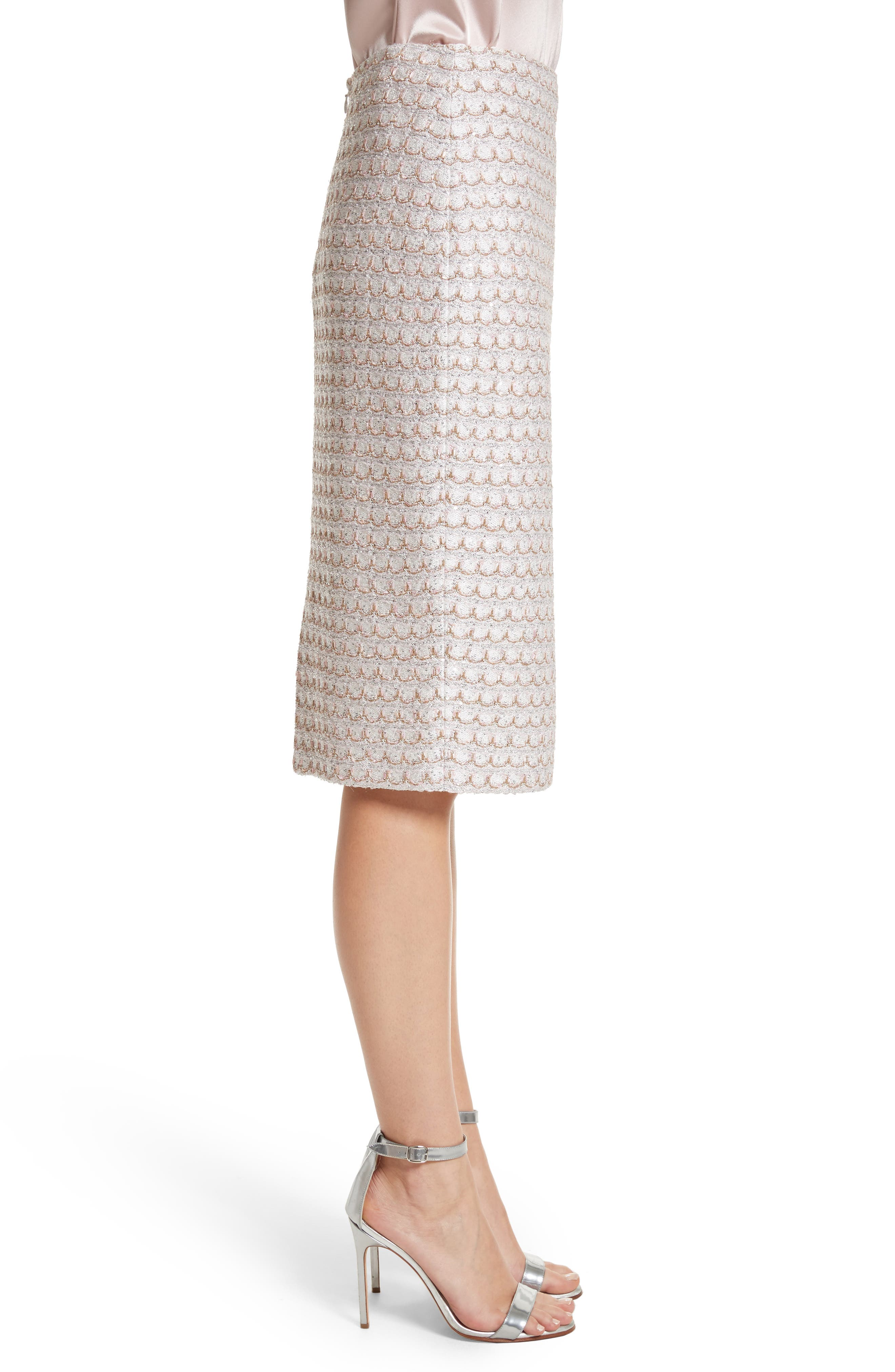 Sequin Scallop Tweed Pencil Skirt,                             Alternate thumbnail 3, color,                             Bianco Multi