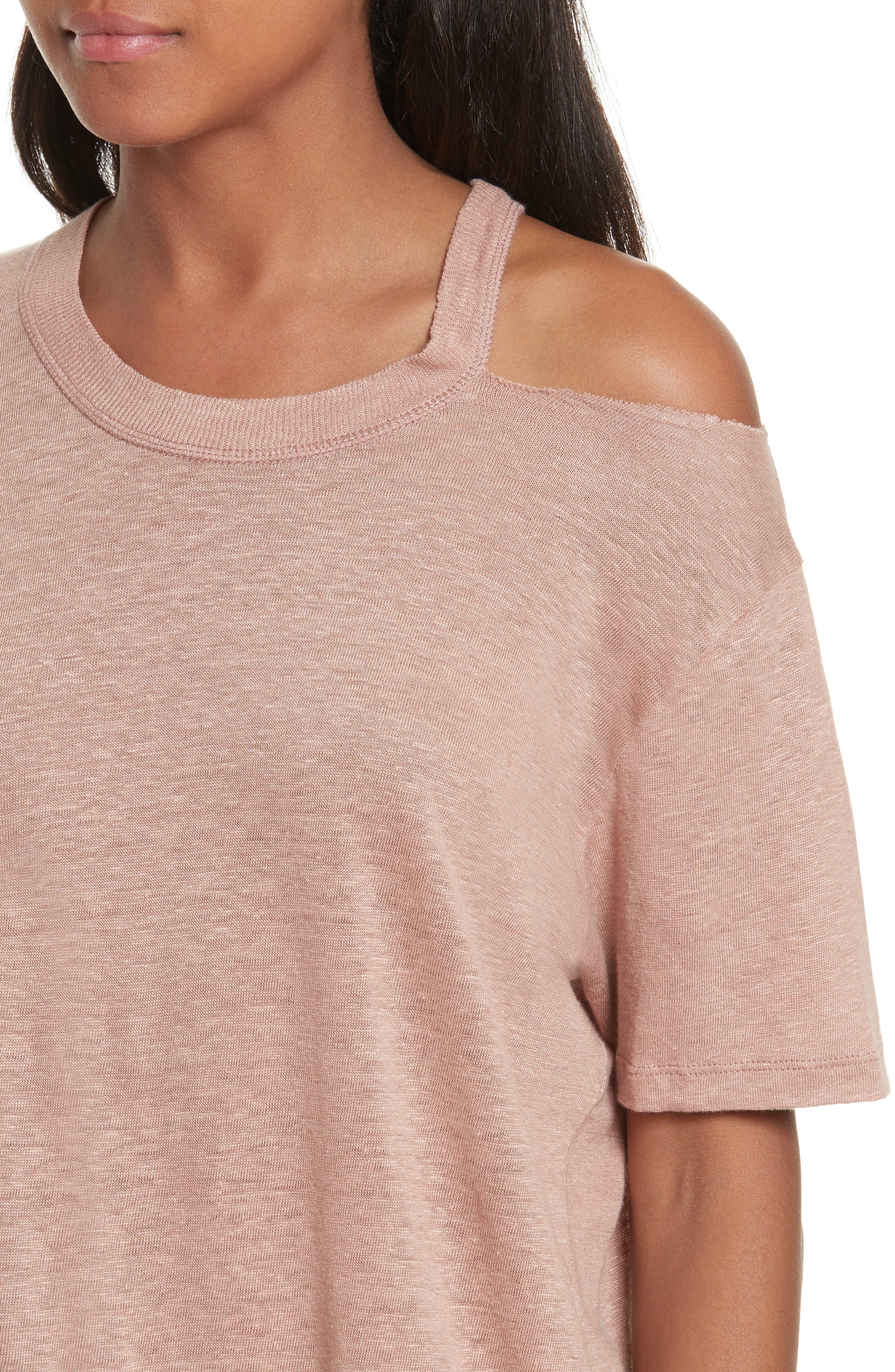 Bacau Cold Shoulder Linen Tee,                             Alternate thumbnail 4, color,                             Old Pink