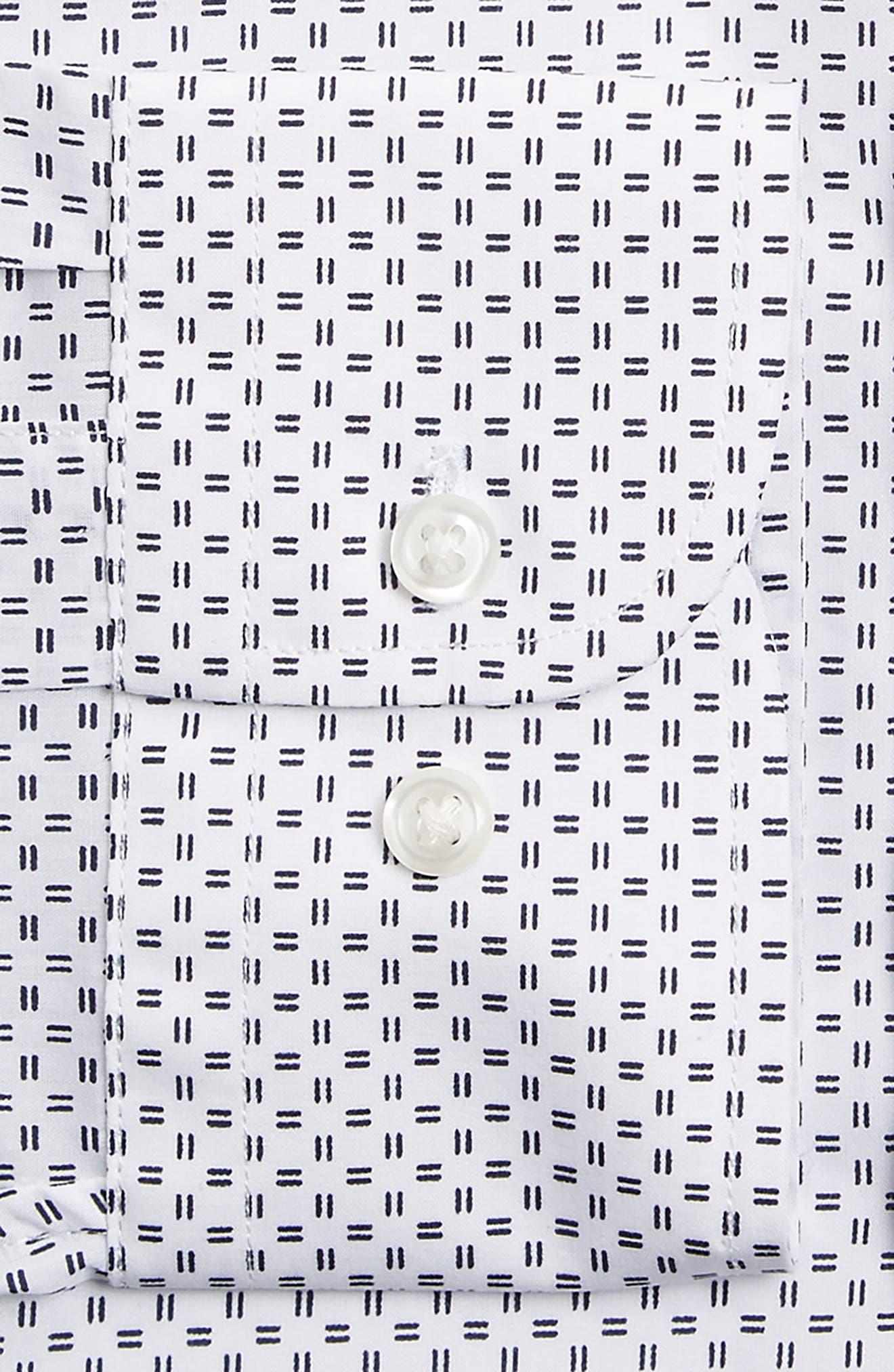 Trim Fit Print Dress Shirt,                             Alternate thumbnail 2, color,                             White Navy Evening