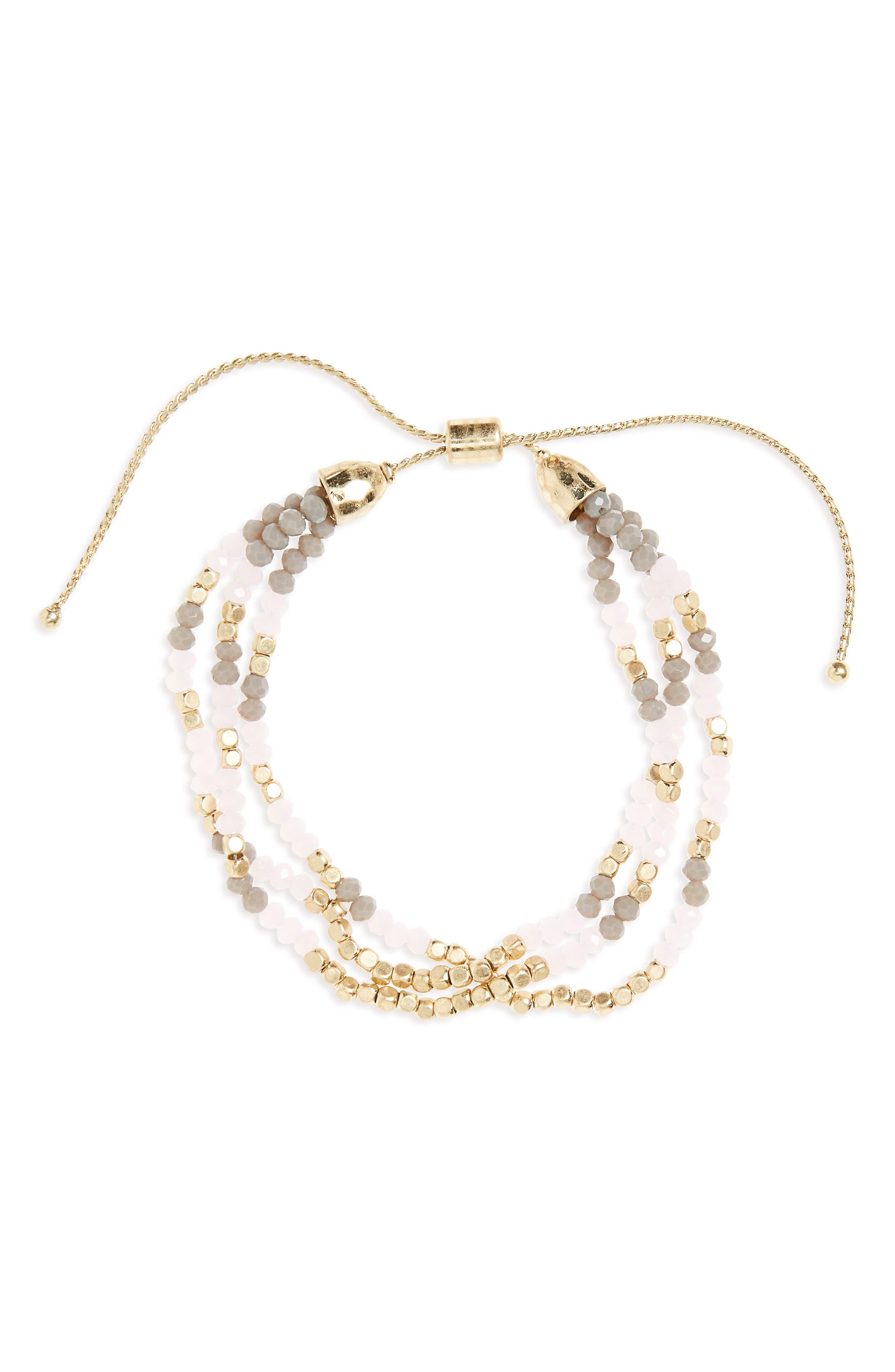 Beaded Friendship Bracelet,                         Main,                         color, Pink/ Grey