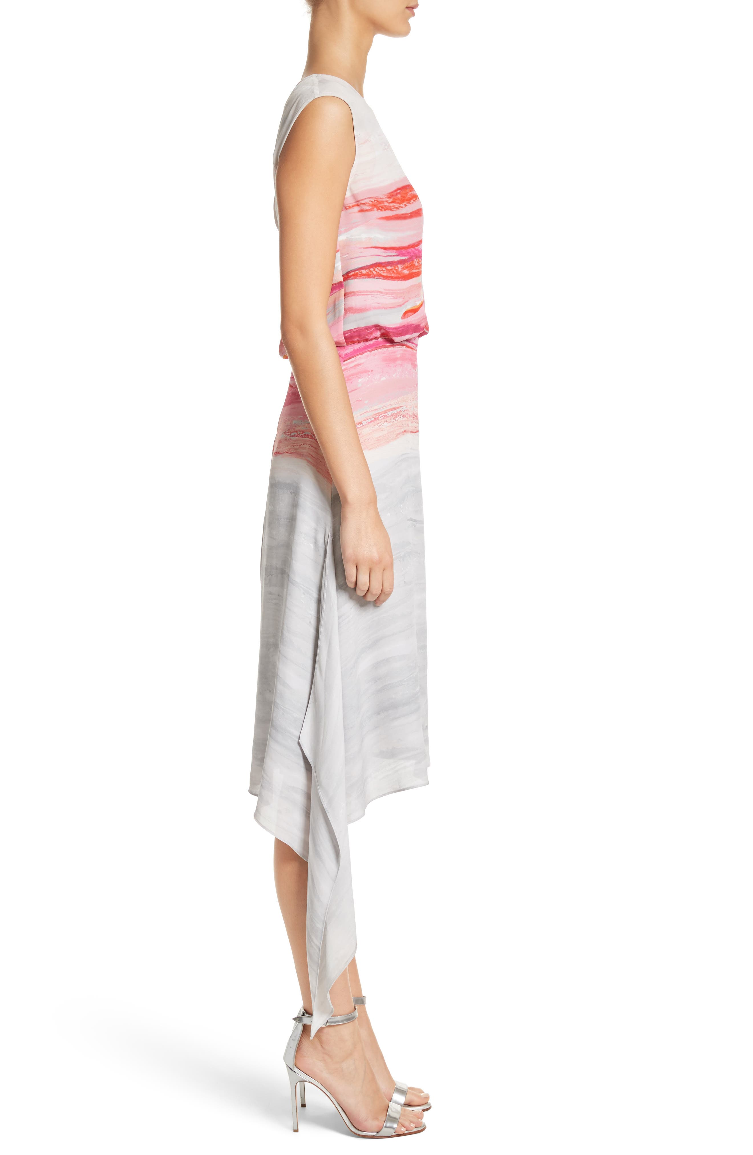 Textured Brushstroke Print Silk Satin Dress,                             Alternate thumbnail 3, color,                             Bright Coral Multi
