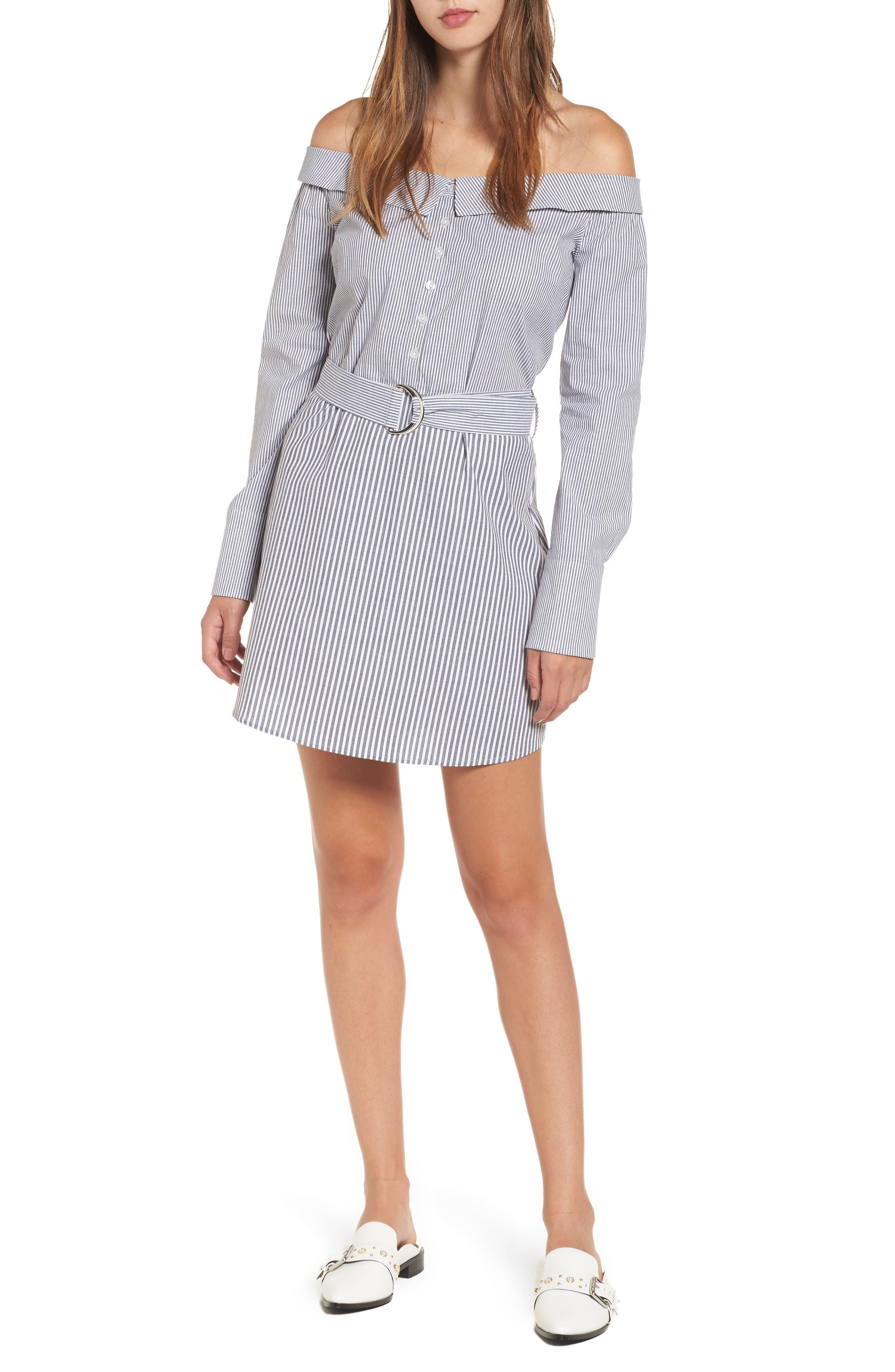 Portrait Neck Stripe Poplin Shirtdress,                         Main,                         color, Black/ White