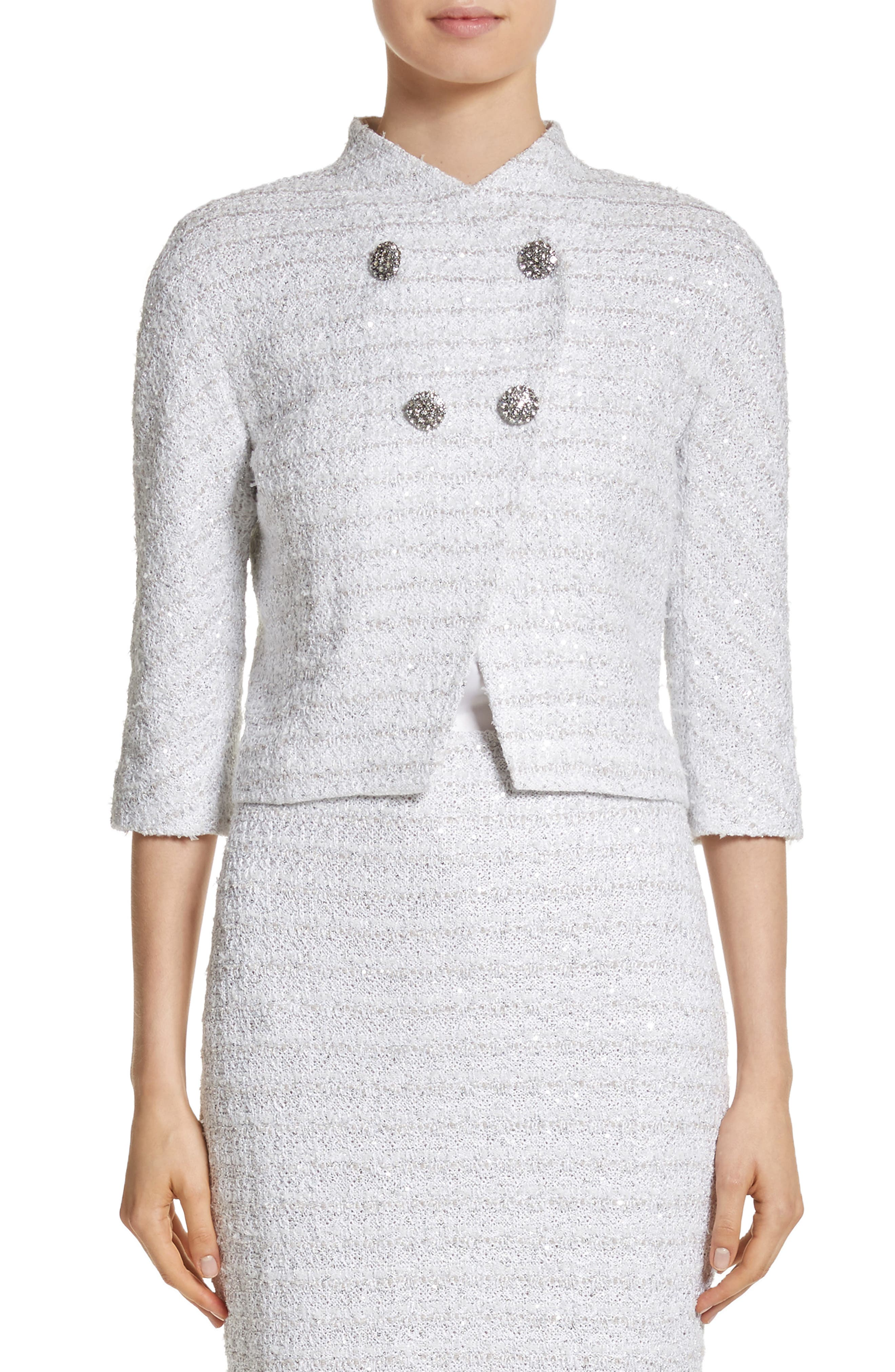 Frosted Metallic Tweed Jacket,                         Main,                         color, Bianco Multi
