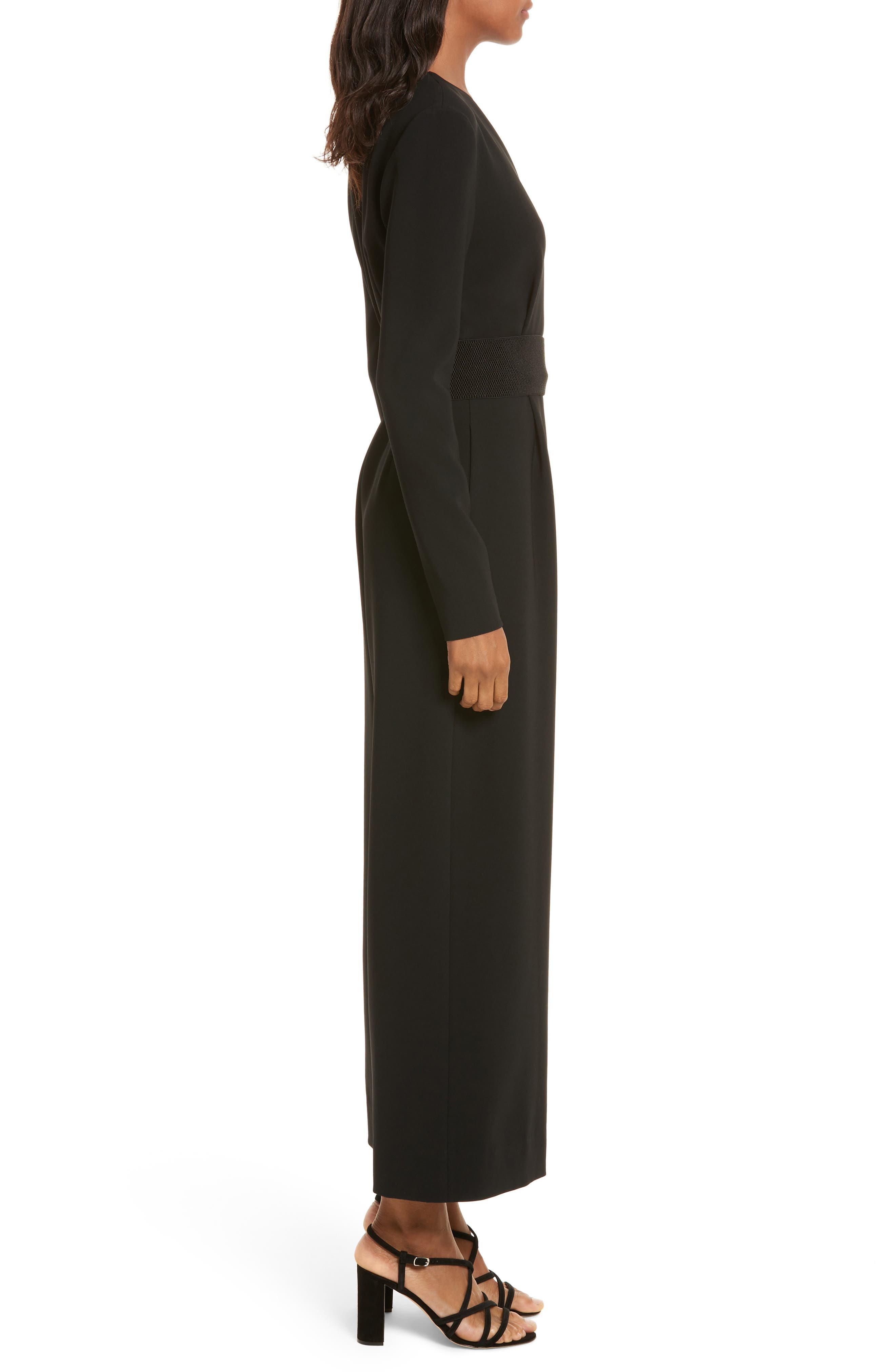 Surplice Jumpsuit,                             Alternate thumbnail 3, color,                             Black