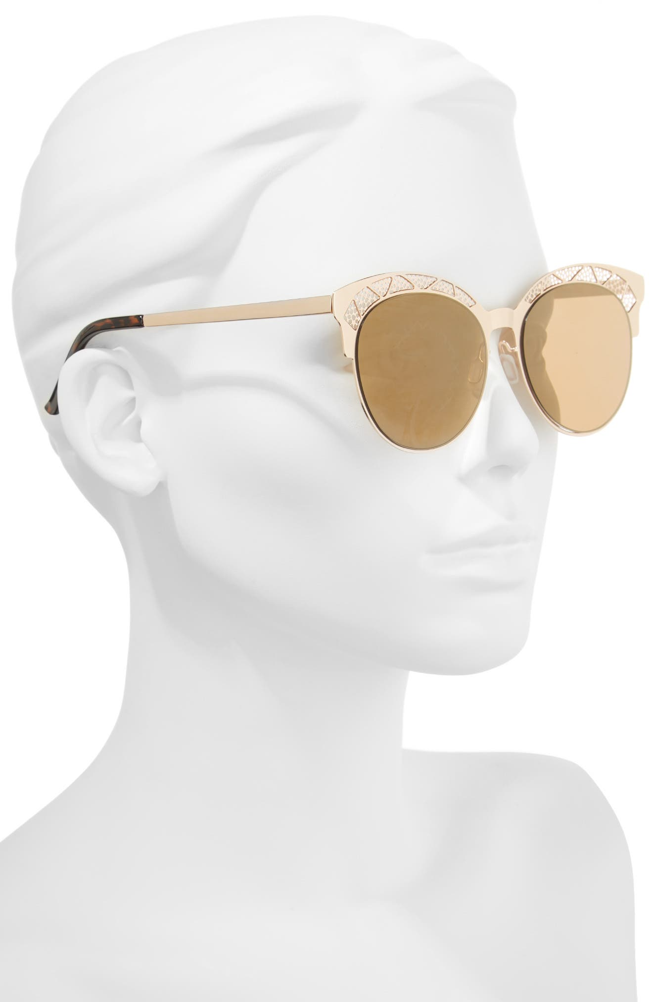 56mm Round Sunglasses,                             Alternate thumbnail 2, color,                             Gold/ Brown