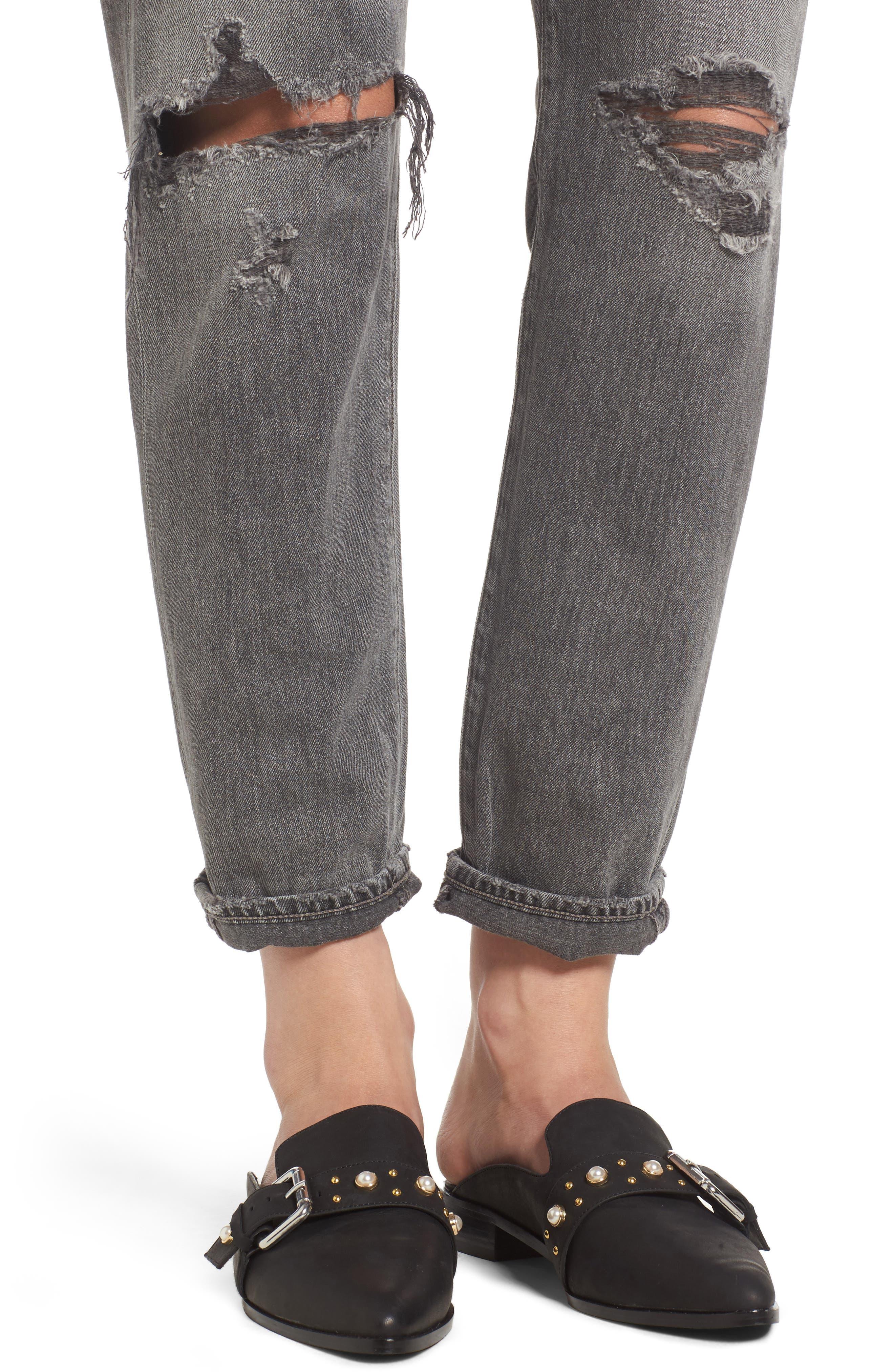 Liya High Waist Boyfriend Jeans,                             Alternate thumbnail 4, color,                             Extreme