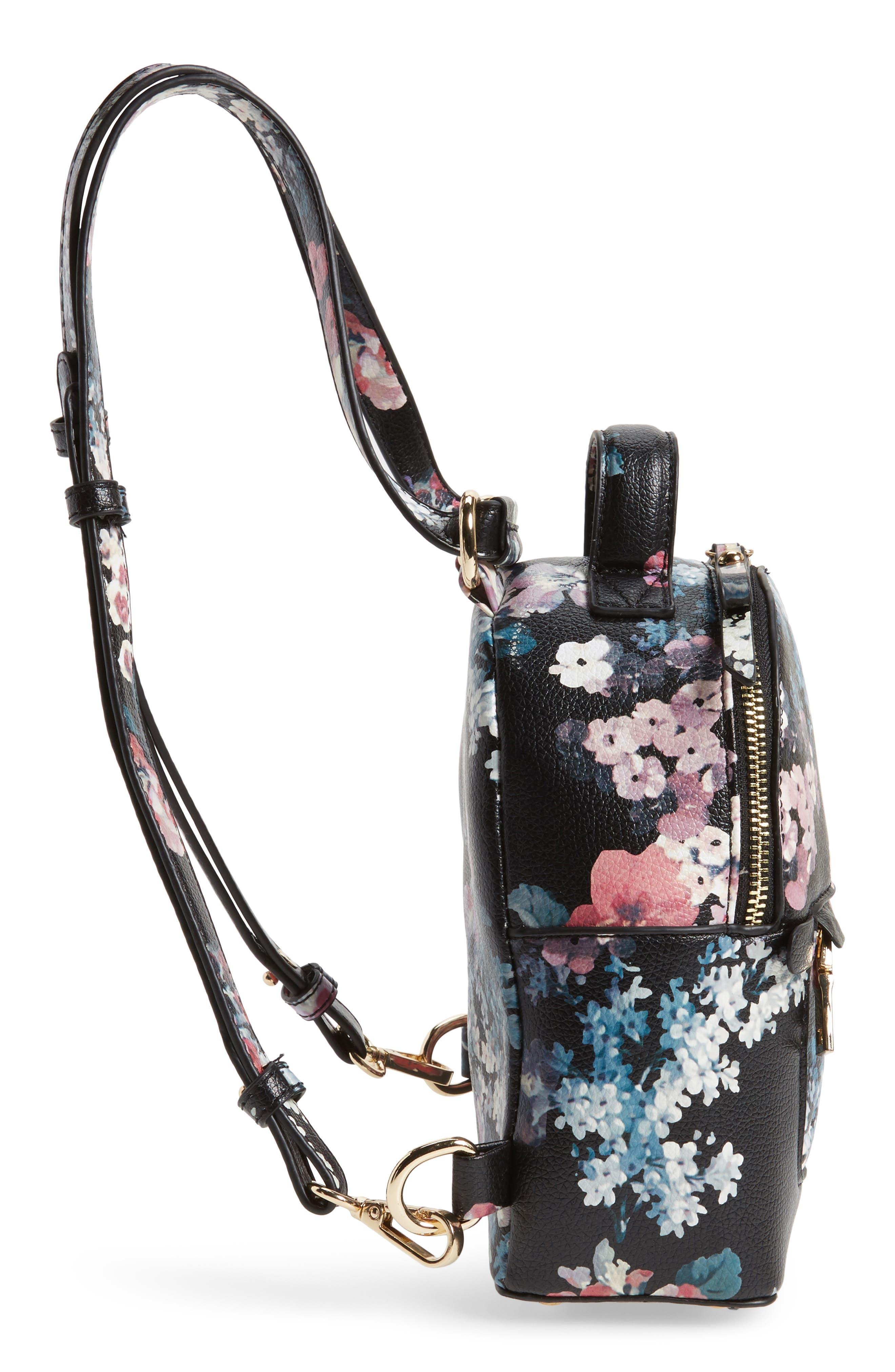 Mini Floral Faux Leather Mini Backpack,                             Alternate thumbnail 4, color,                             Black Floral