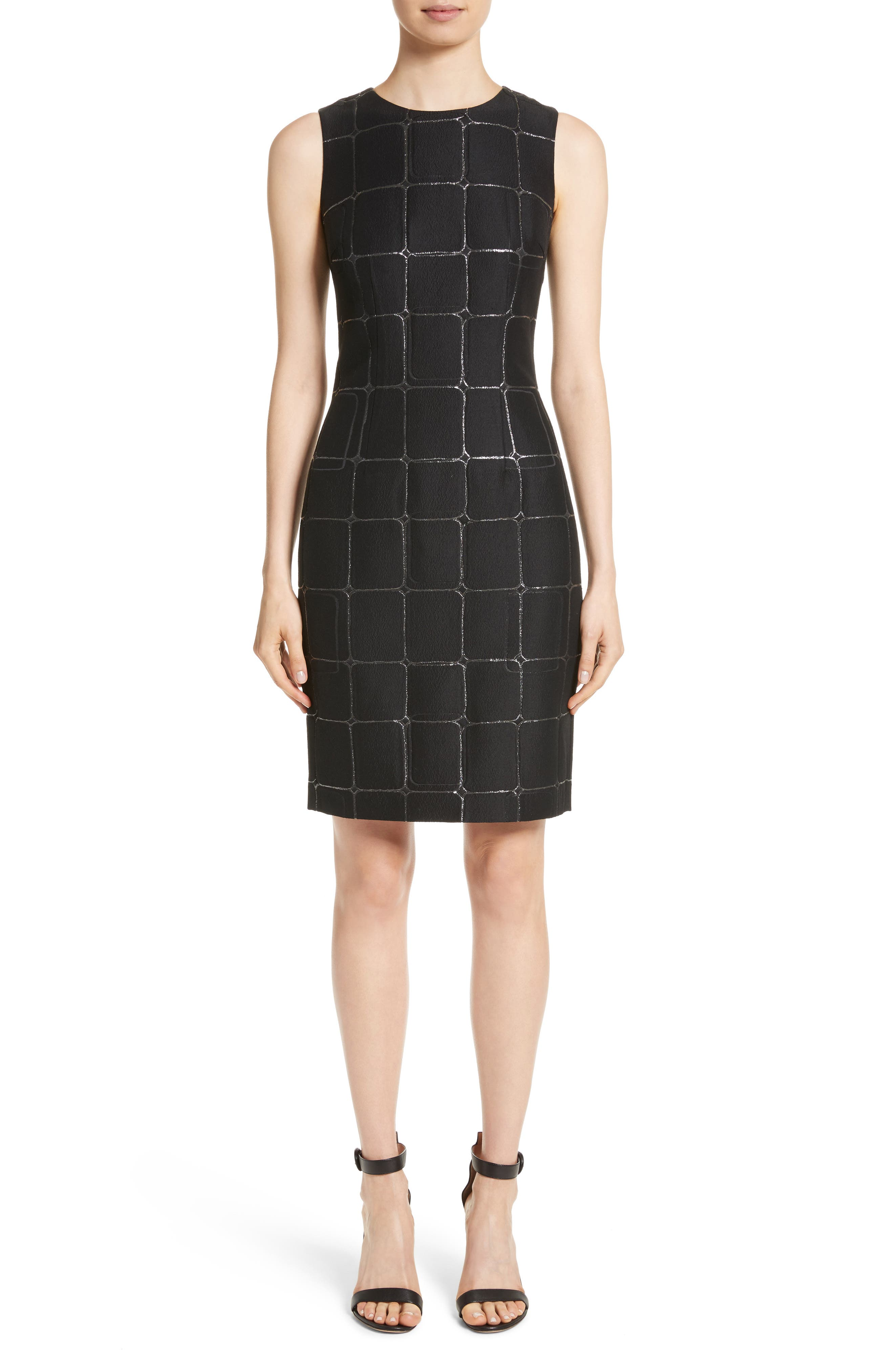 Metallic Jacquard Sheath Dress,                             Main thumbnail 1, color,                             Caviar Metallic