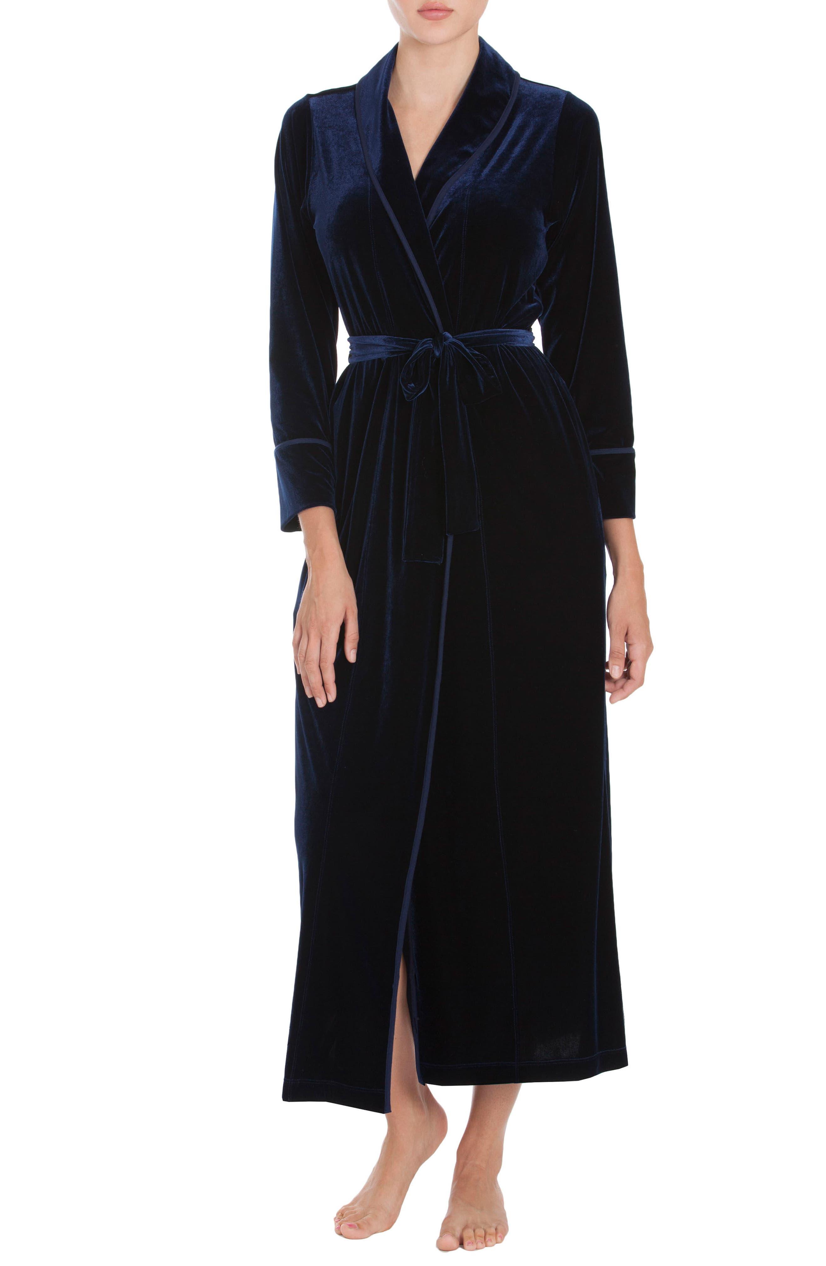 Velvet Robe,                         Main,                         color, Navy Blue