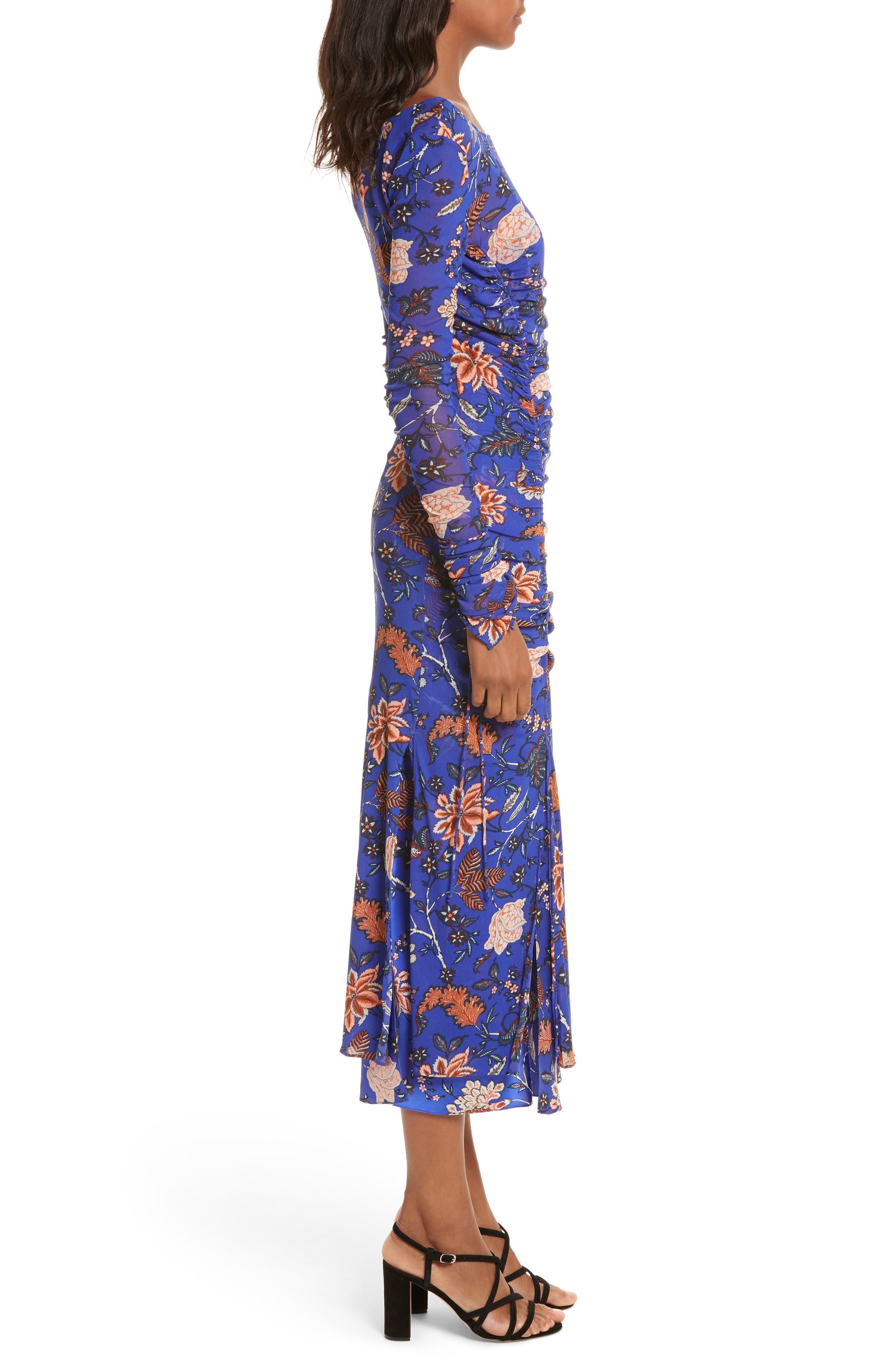 Diane von Furstenberg Mesh Overlay Floral Midi Dress,                             Alternate thumbnail 3, color,                             Canton Electric Blue