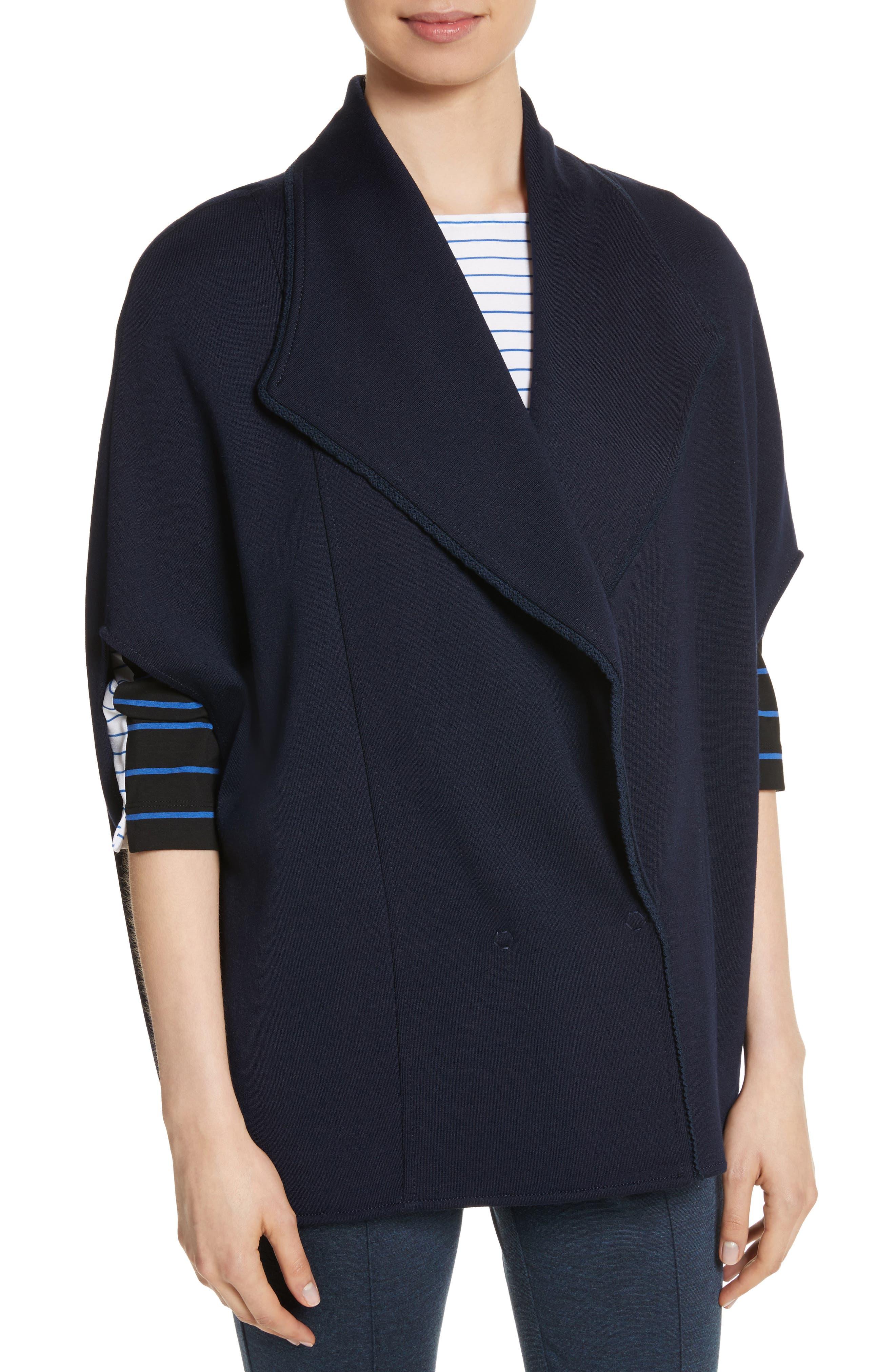 Circular Milano Knit Jacket,                             Alternate thumbnail 4, color,                             Navy