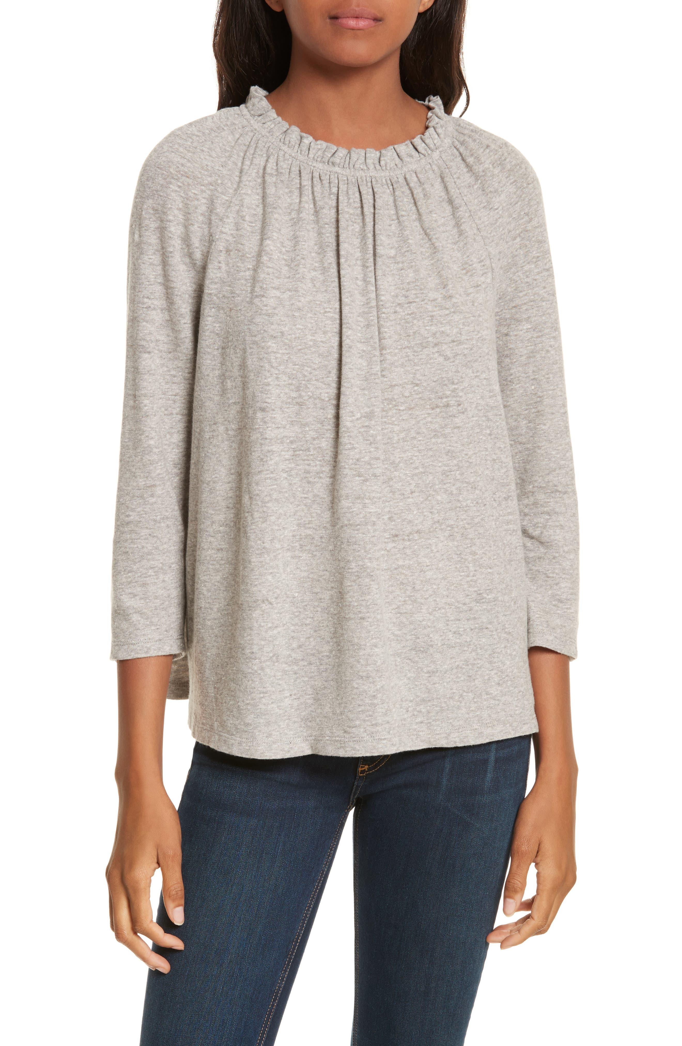 Ruffle Neck Top,                         Main,                         color, Grey Heather