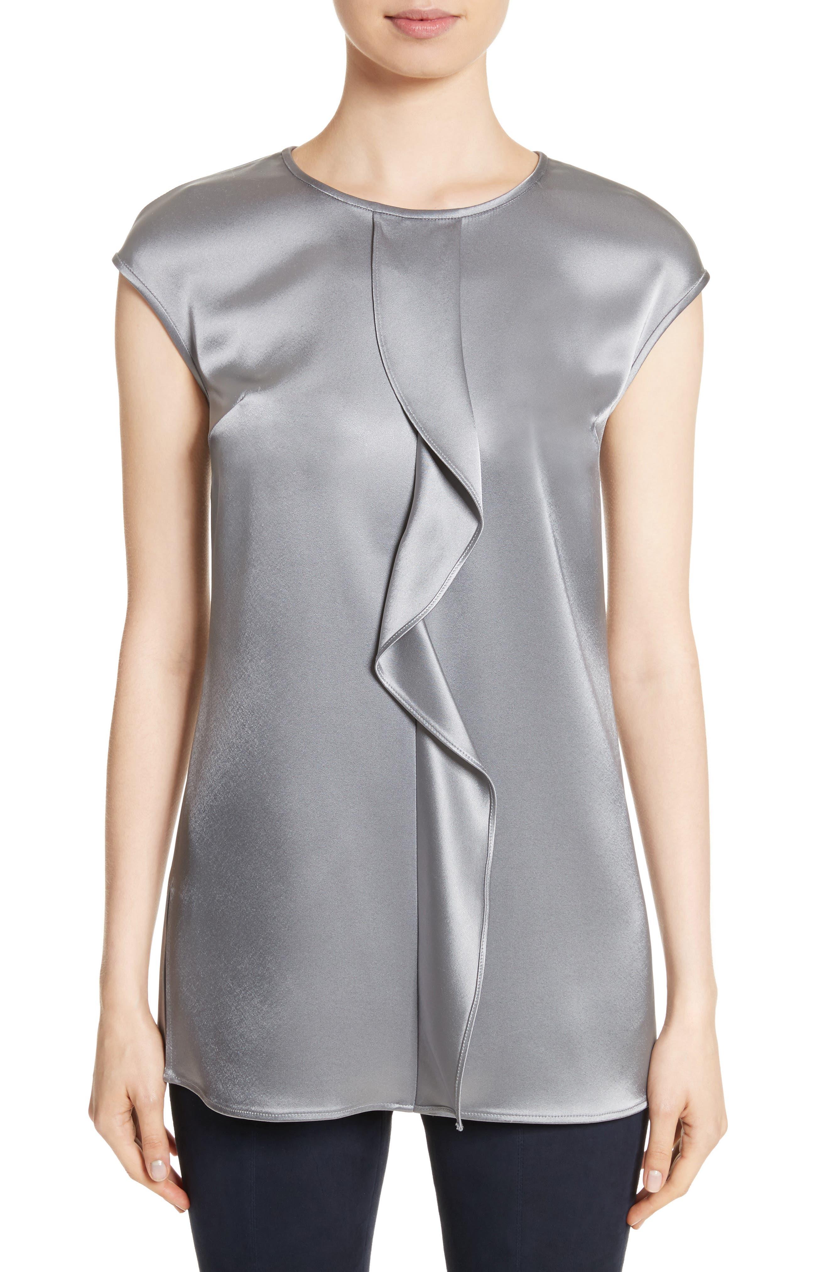 Liquid Satin Top,                         Main,                         color, Grey