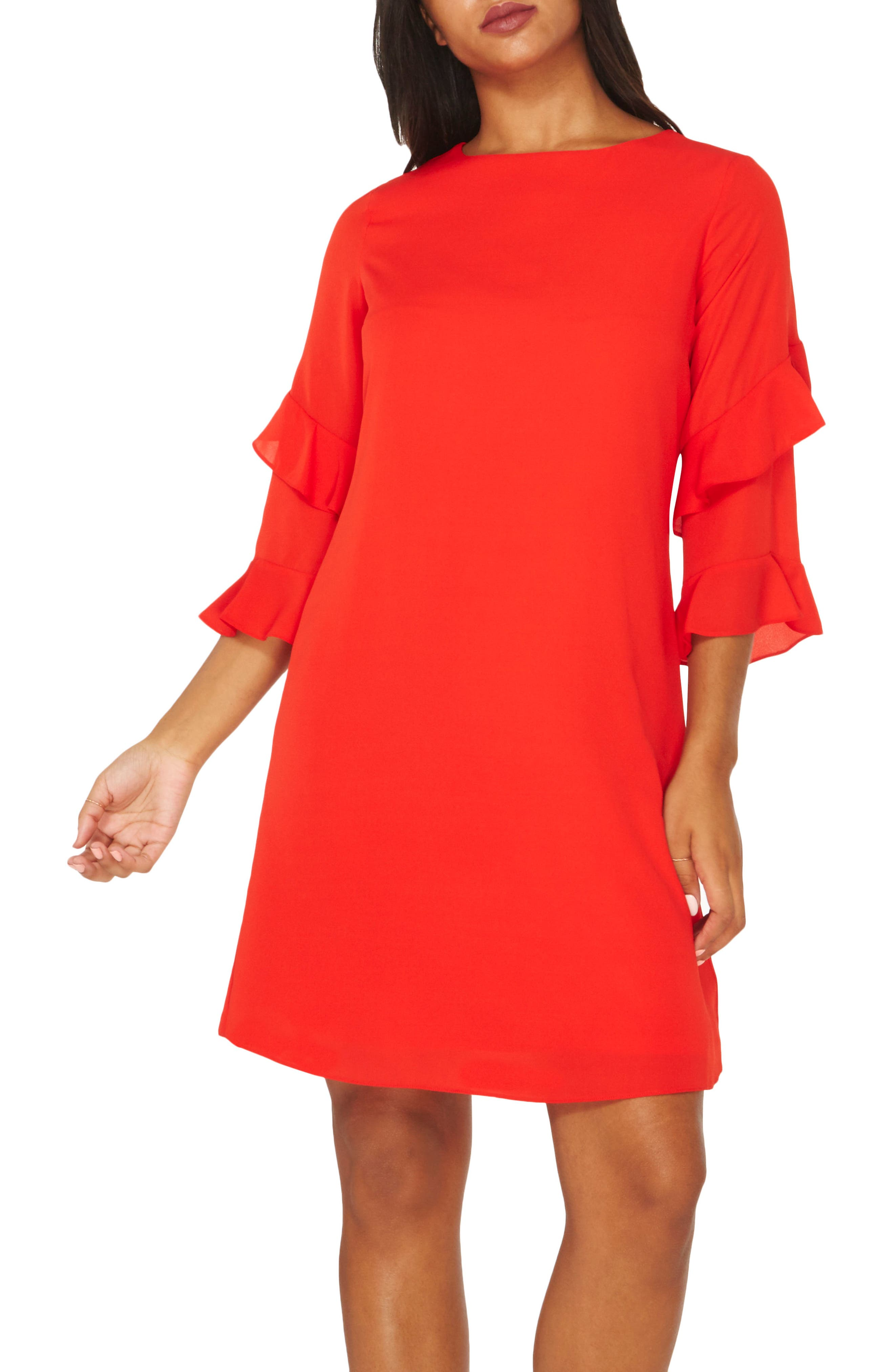 Ruffle Bell Sleeve Shift Dress,                         Main,                         color, Red