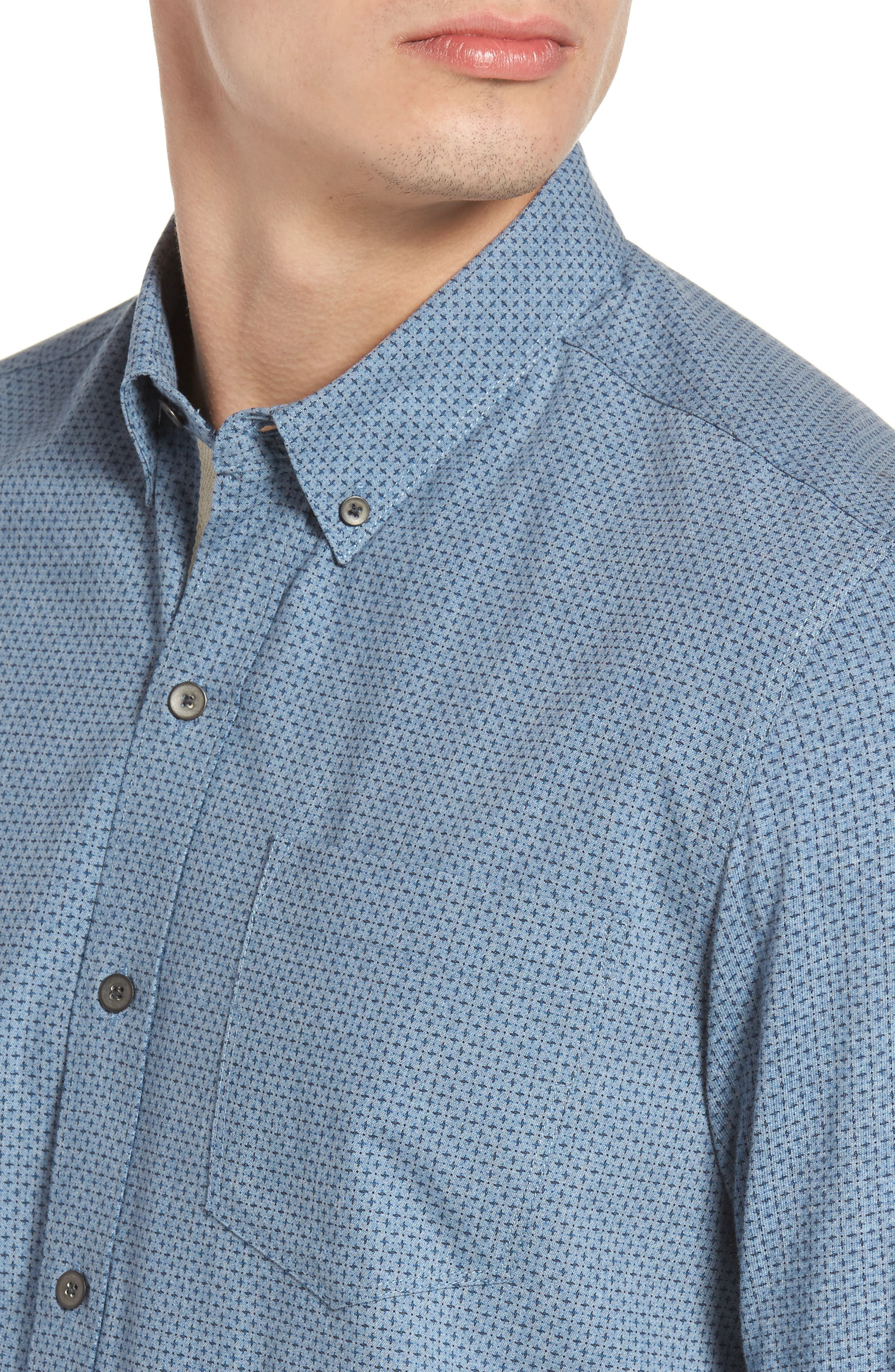 Reworked Patterned Sport Shirt,                             Alternate thumbnail 4, color,                             Blue