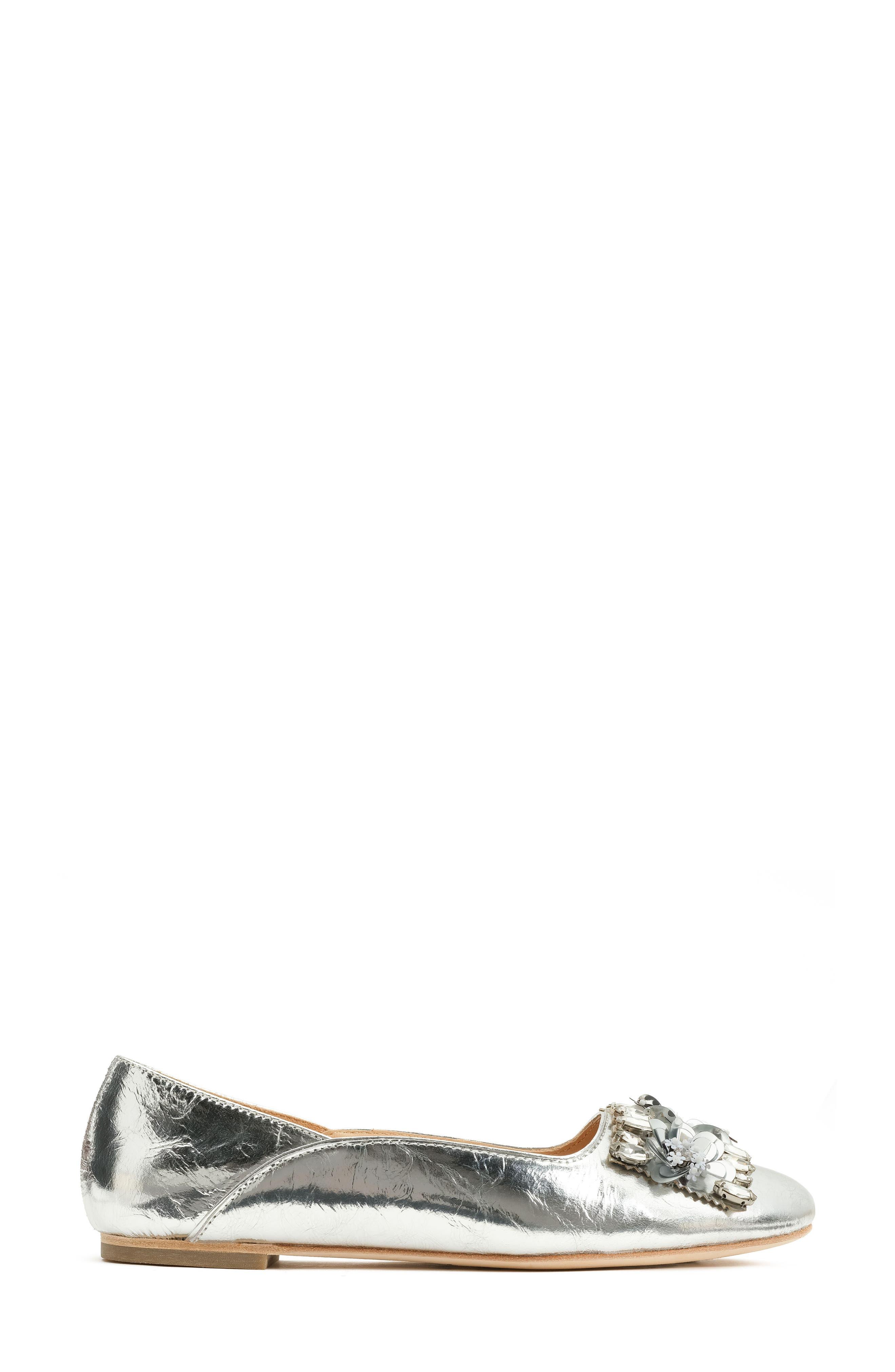 Aurey Embellished Ballet Flat,                             Alternate thumbnail 3, color,                             Silver Foil