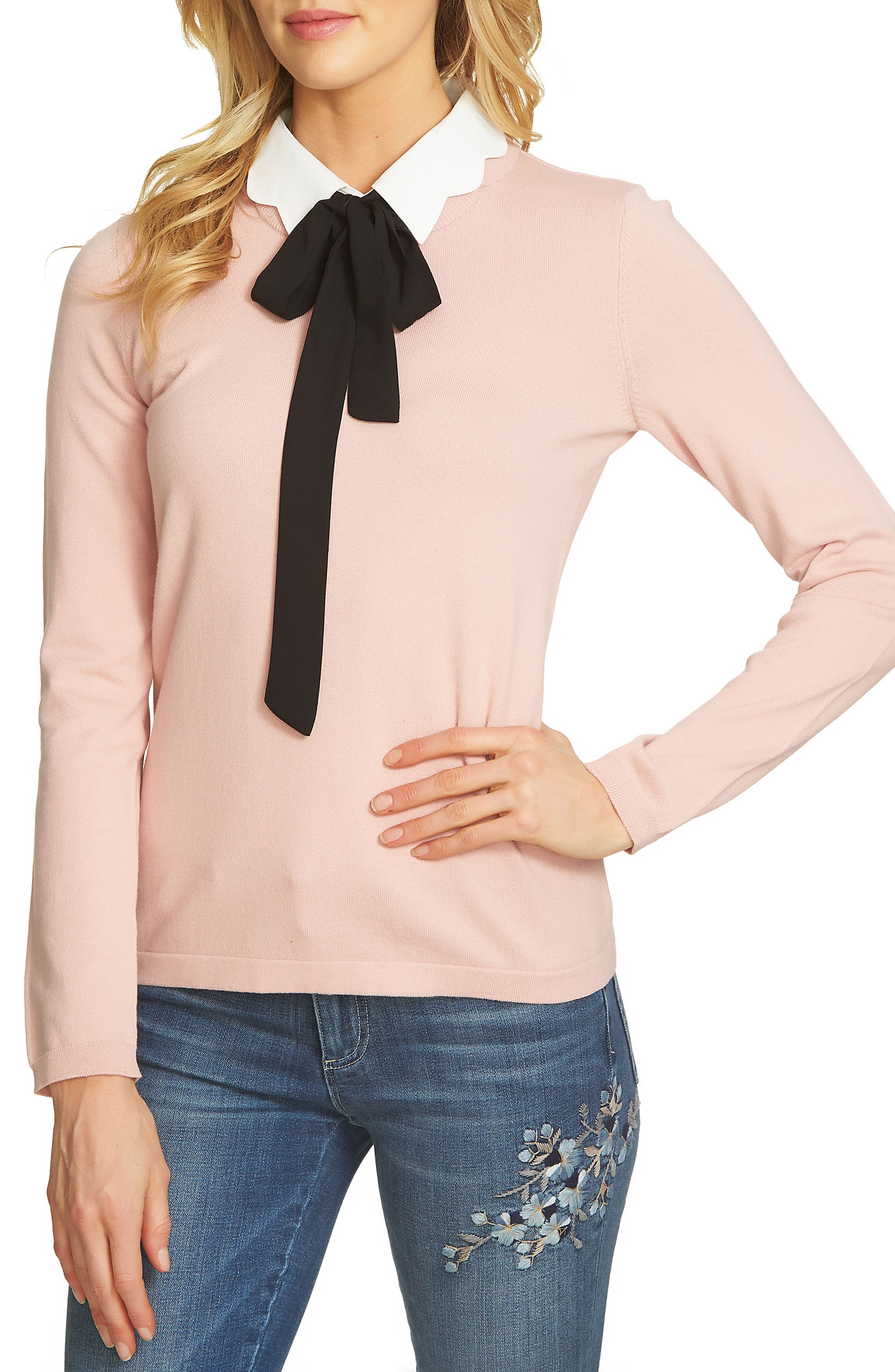 CeCe Scalloped Tie Collar Sweater