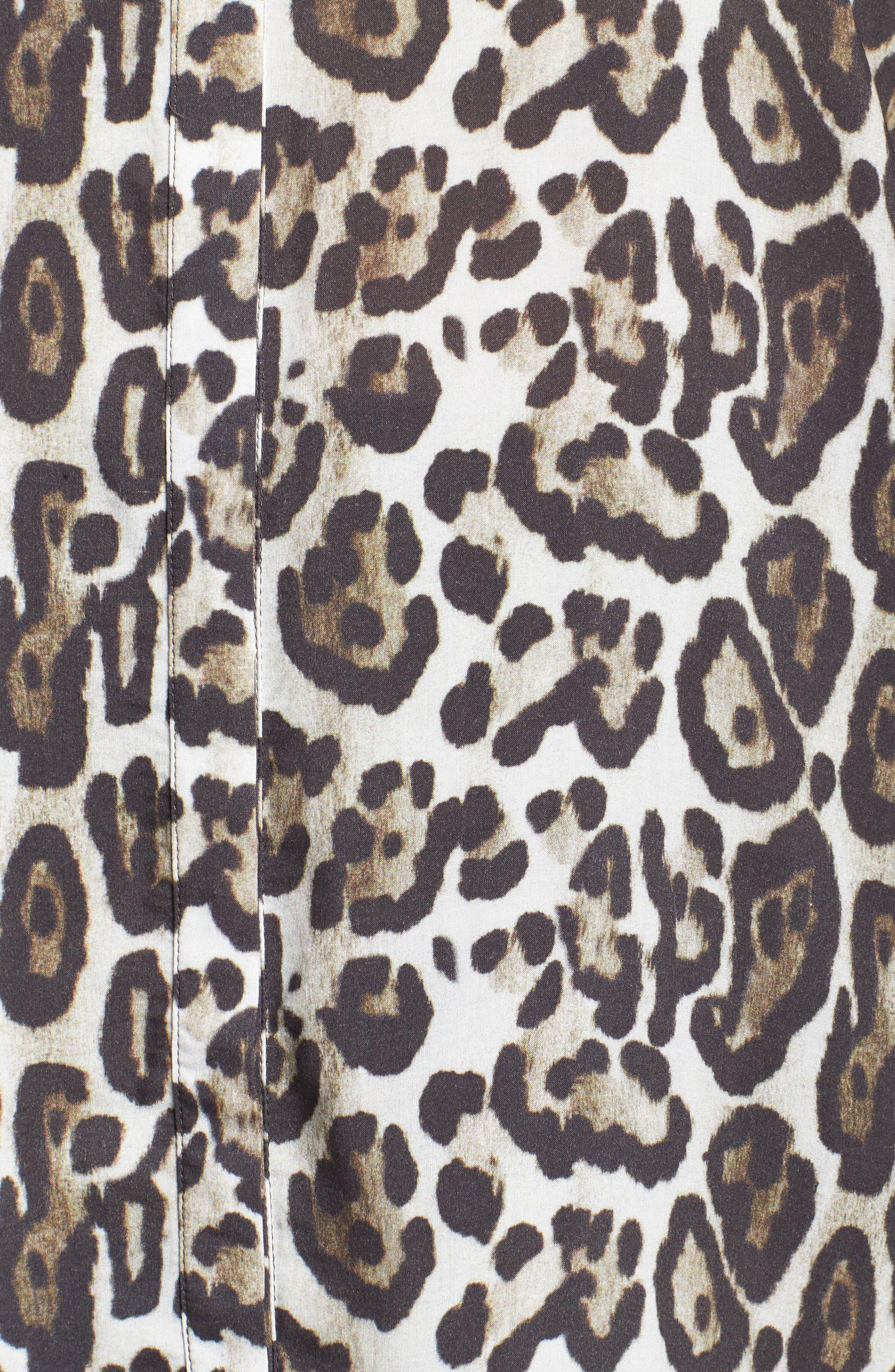 Oversize Leopard Print Blouse,                             Alternate thumbnail 5, color,                             Black/ Multi