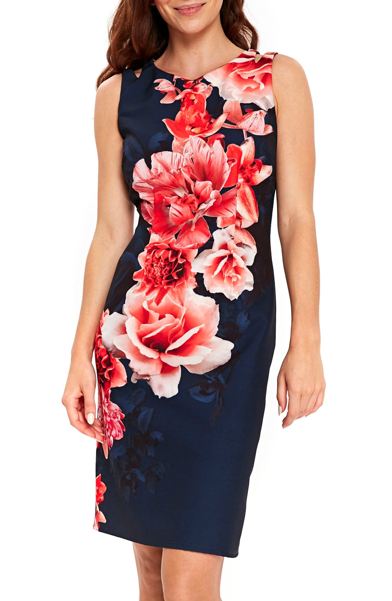 Wallis Sahara Floral Scuba Sheath Dress