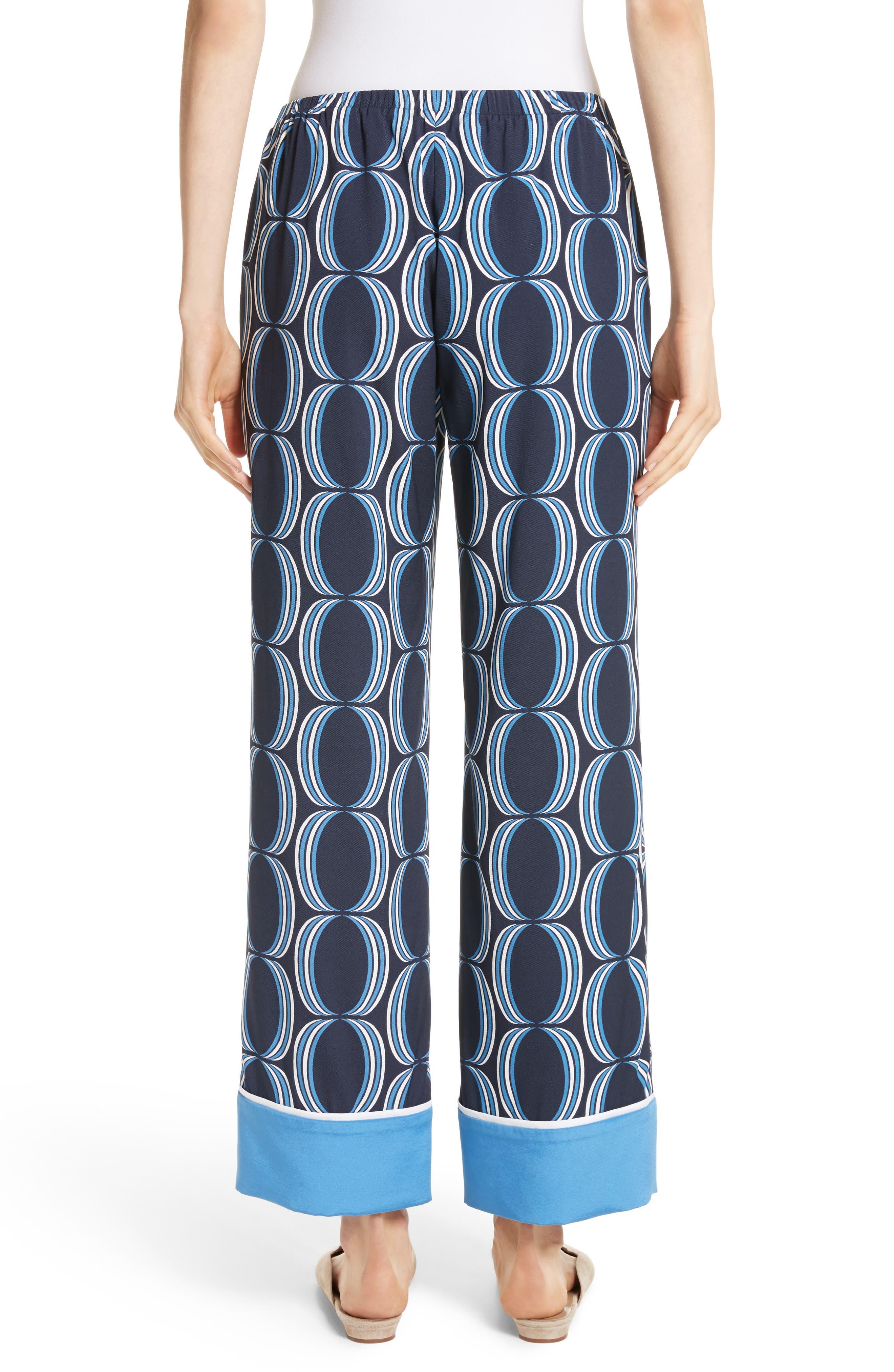 Oval Print Stretch Silk Twill Pants,                             Alternate thumbnail 2, color,                             Navy Multi