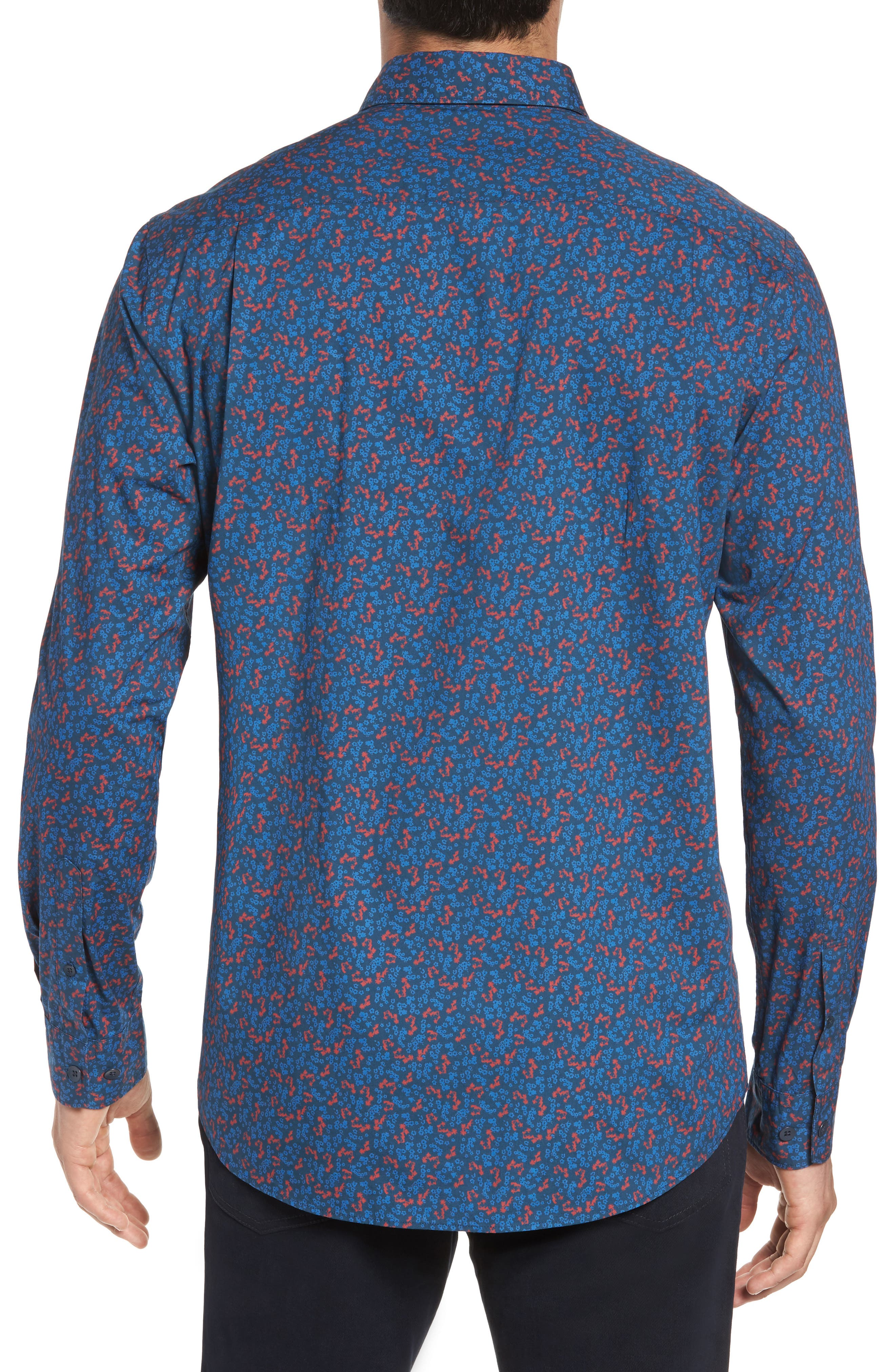 Patons Rock Original Fit Print Sport Shirt,                             Alternate thumbnail 2, color,                             Midnight