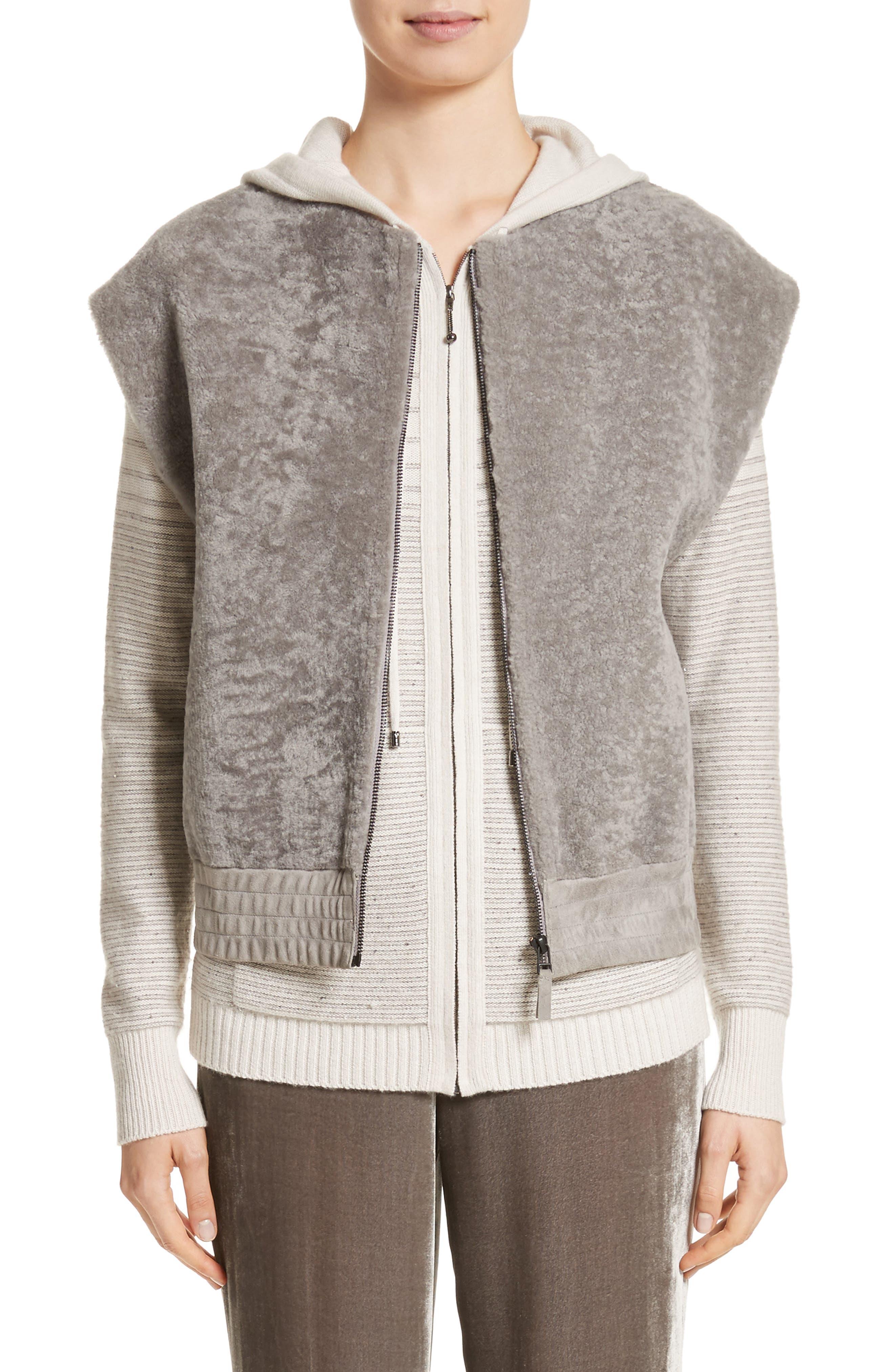 Genuine Shearling Vest,                             Main thumbnail 1, color,                             Travertine