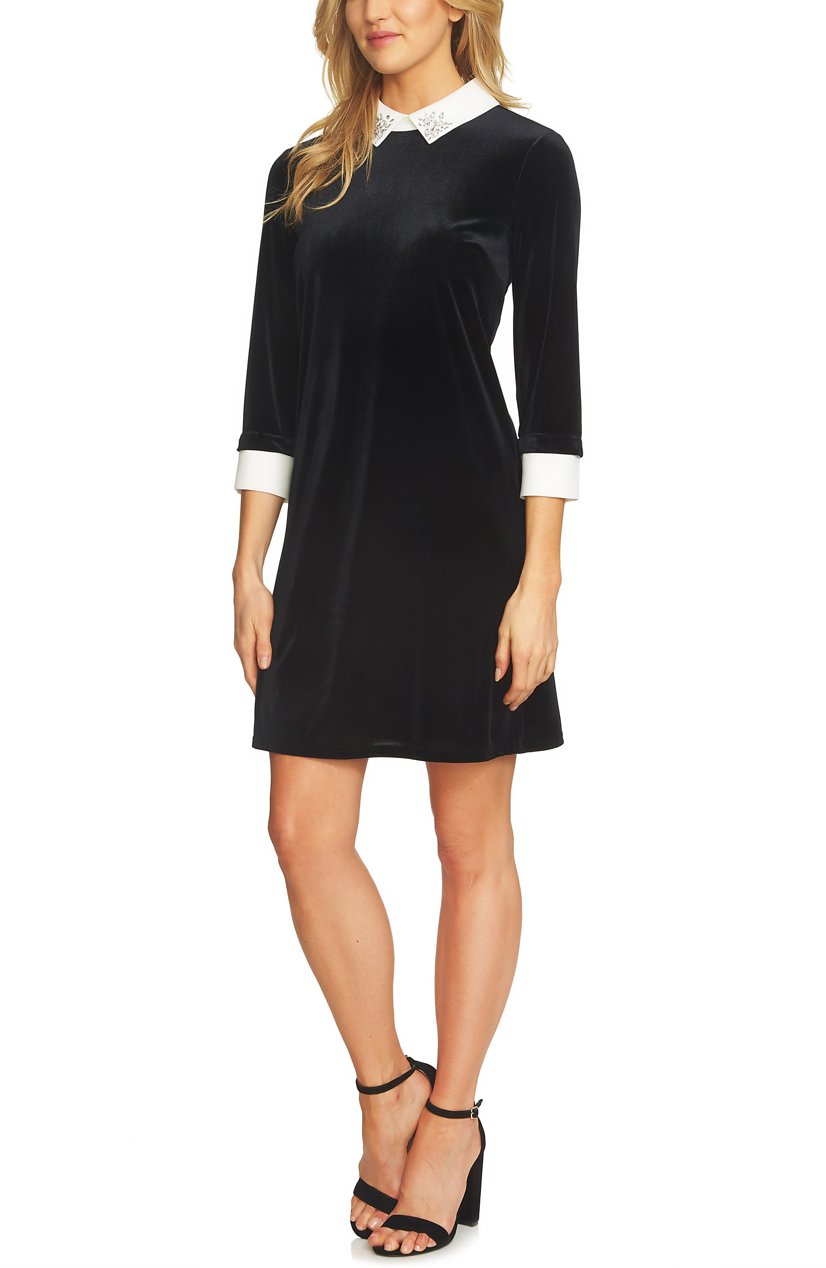 CeCe Embellished Collar Velvet Dress