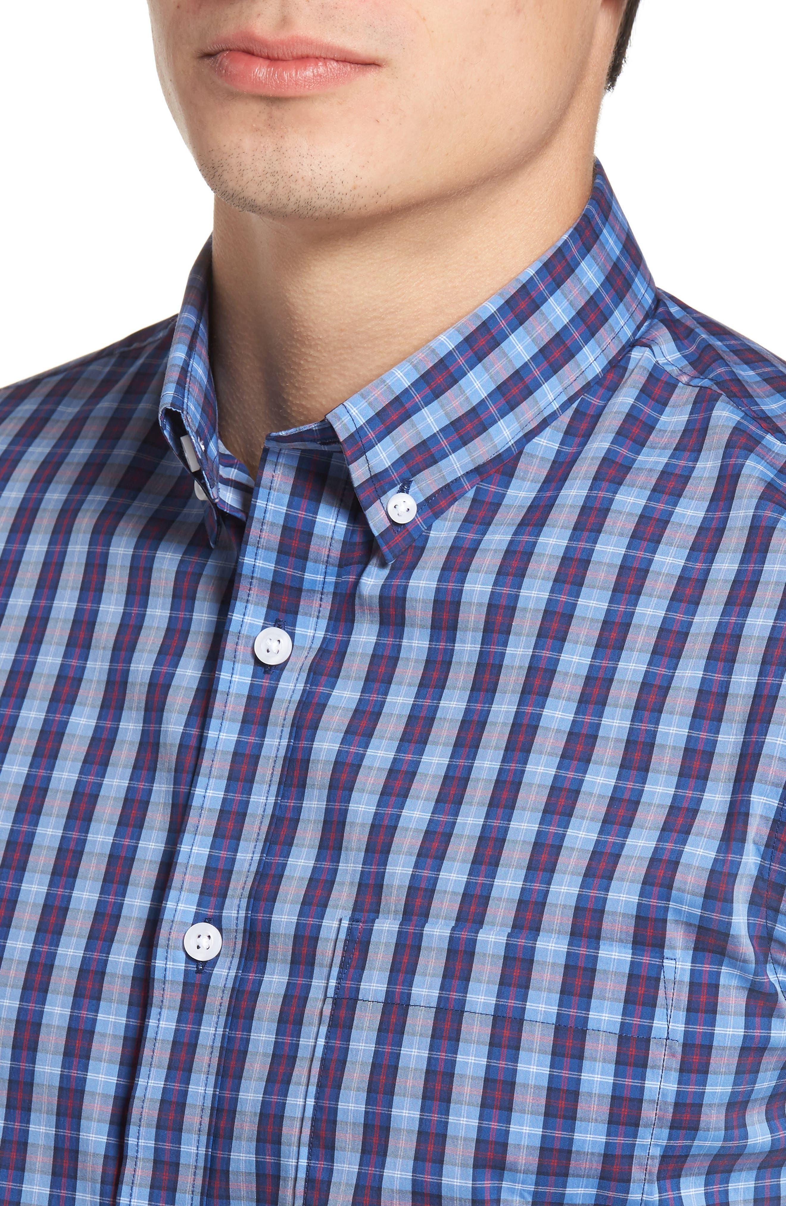 Trim Fit Tech-Smart Plaid Sport Shirt,                             Alternate thumbnail 4, color,                             Blue Hydrangea Navy Plaid