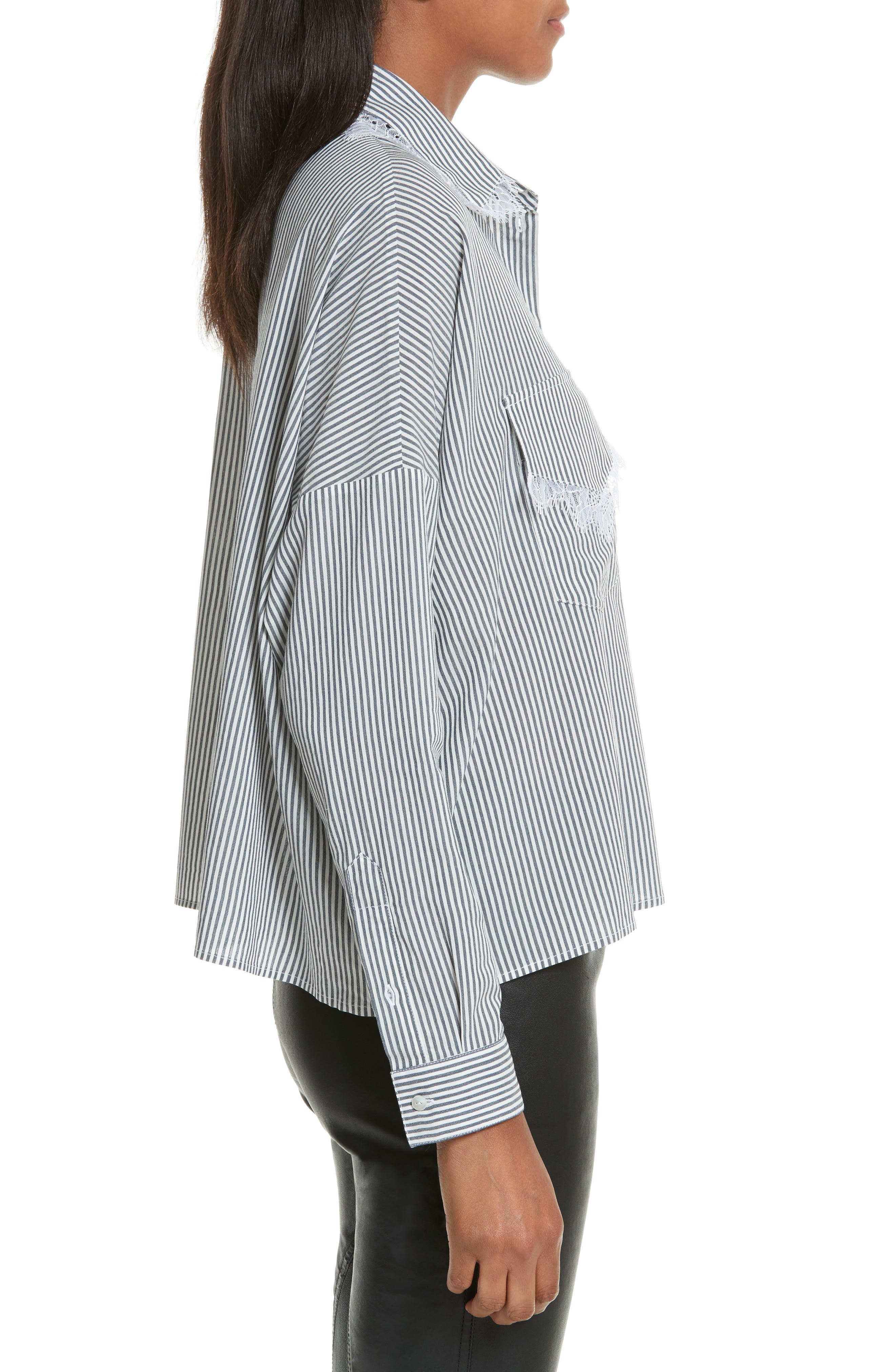 Alternate Image 3  - The Kooples James Lace Trim Stripe Shirt