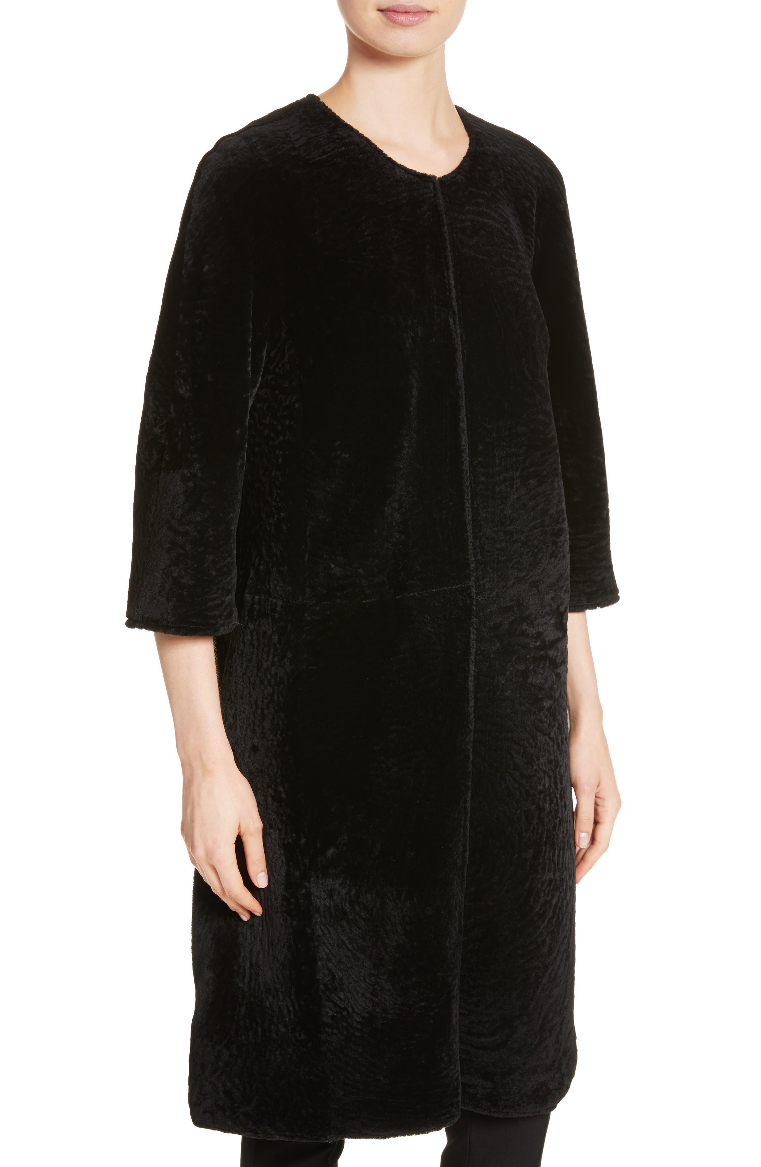 Genuine Textured Lamb Fur Jacket,                             Alternate thumbnail 3, color,                             Caviar