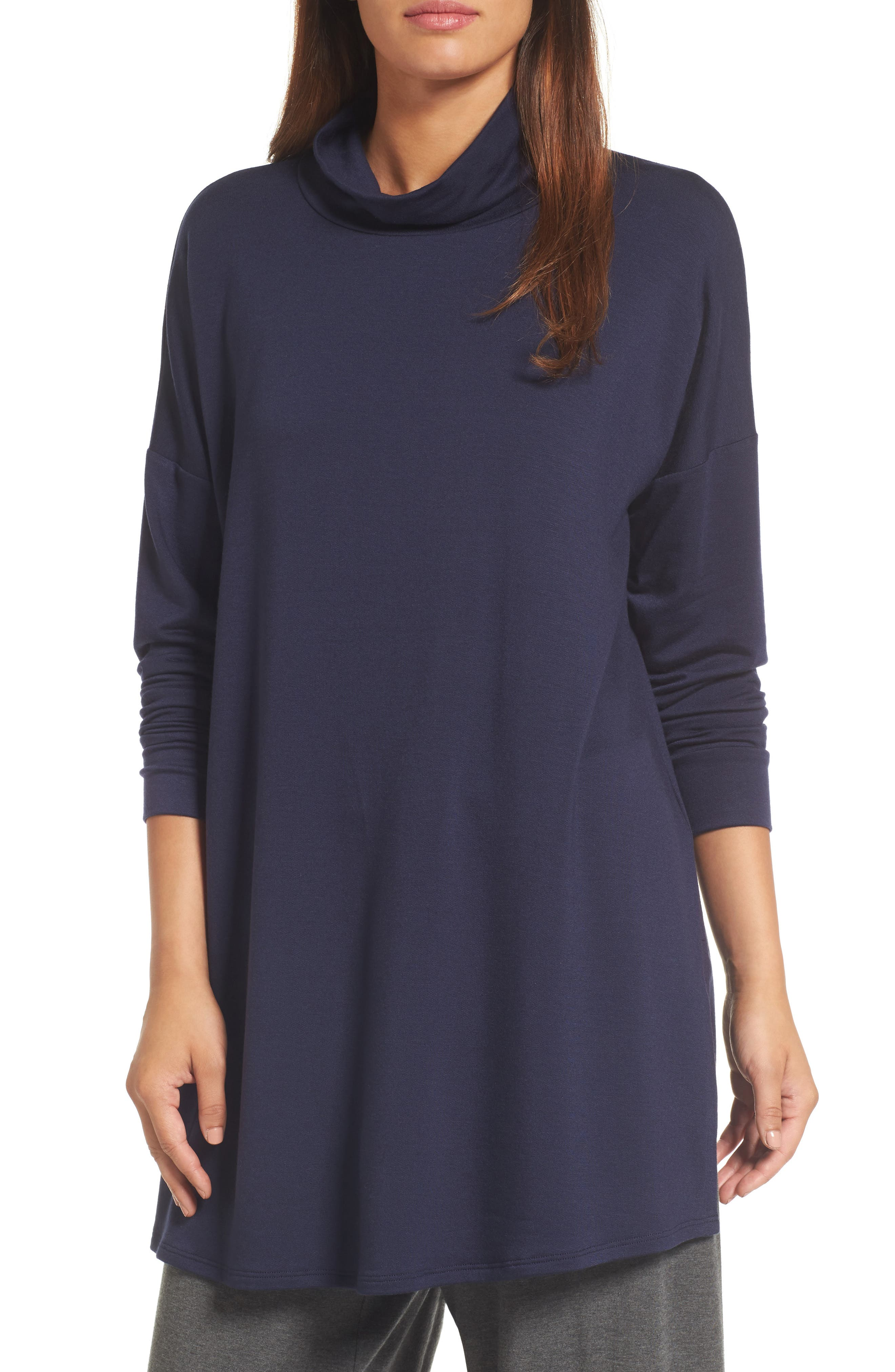 Funnel Neck Knit Tunic,                             Main thumbnail 1, color,                             Midnight