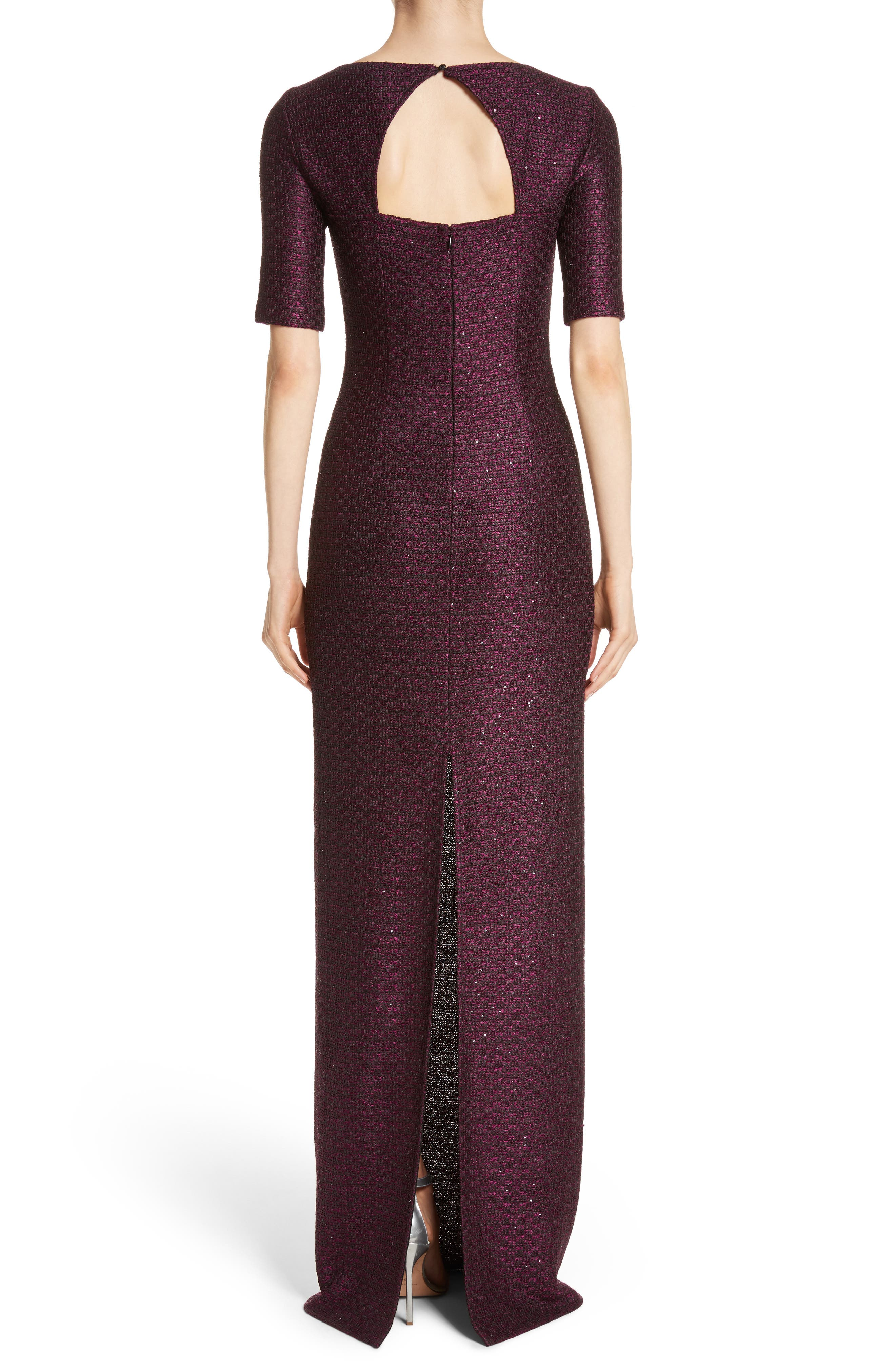 Scooped Neck Hansh Knit Column Gown,                             Alternate thumbnail 2, color,                             Currant Multi