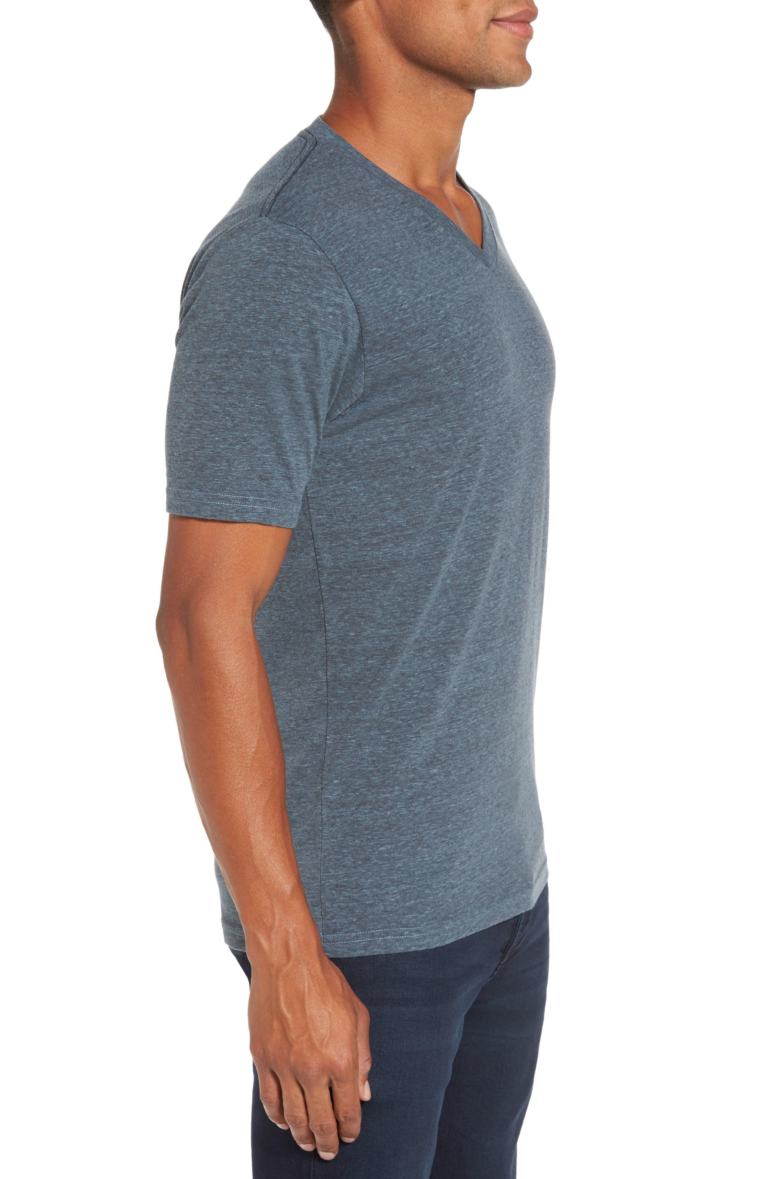 V-Neck Heathered T-Shirt,                             Alternate thumbnail 3, color,                             Real Teal