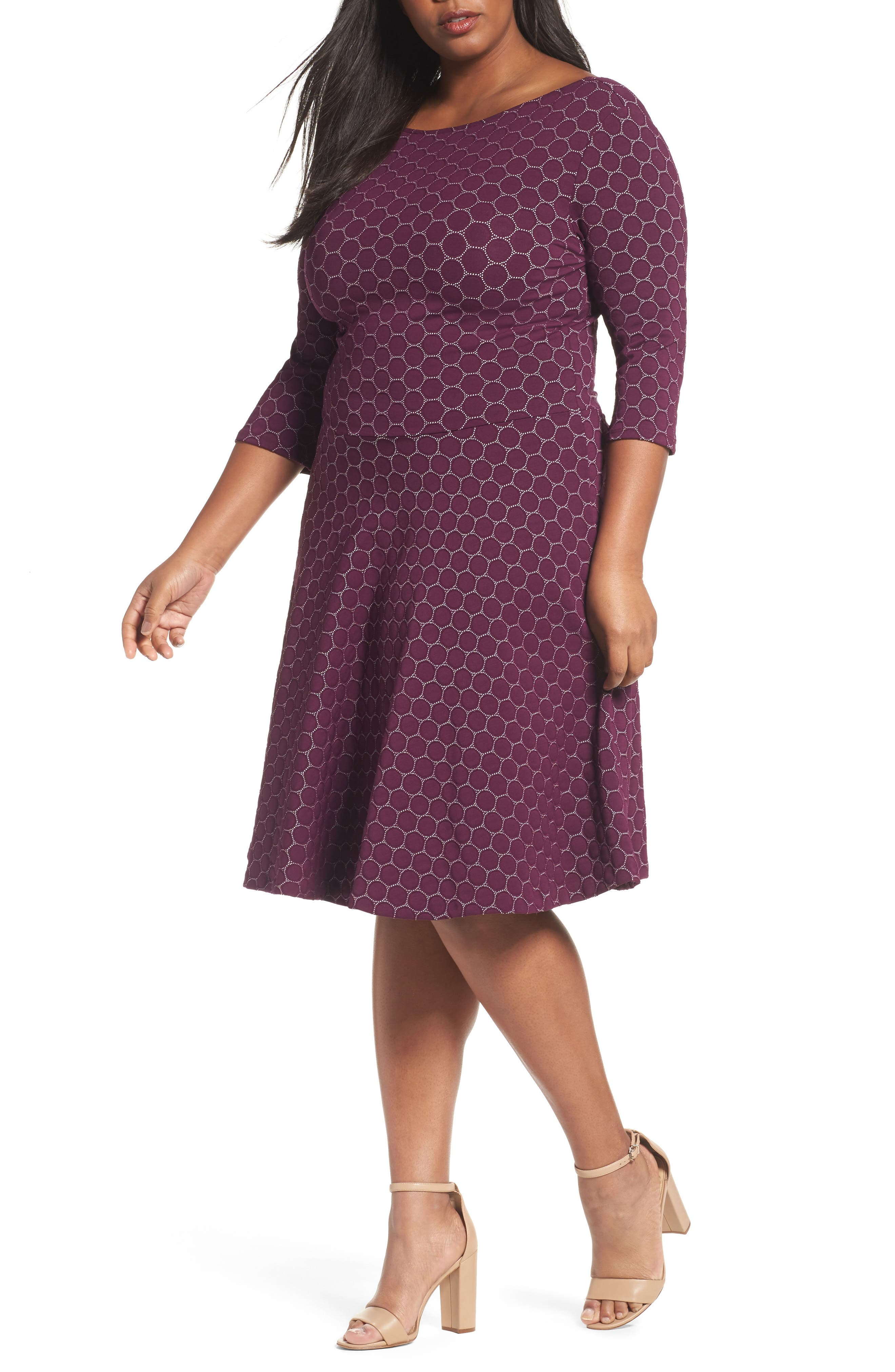 Circle Knit Fit & Flare Dress,                         Main,                         color, Aubergine