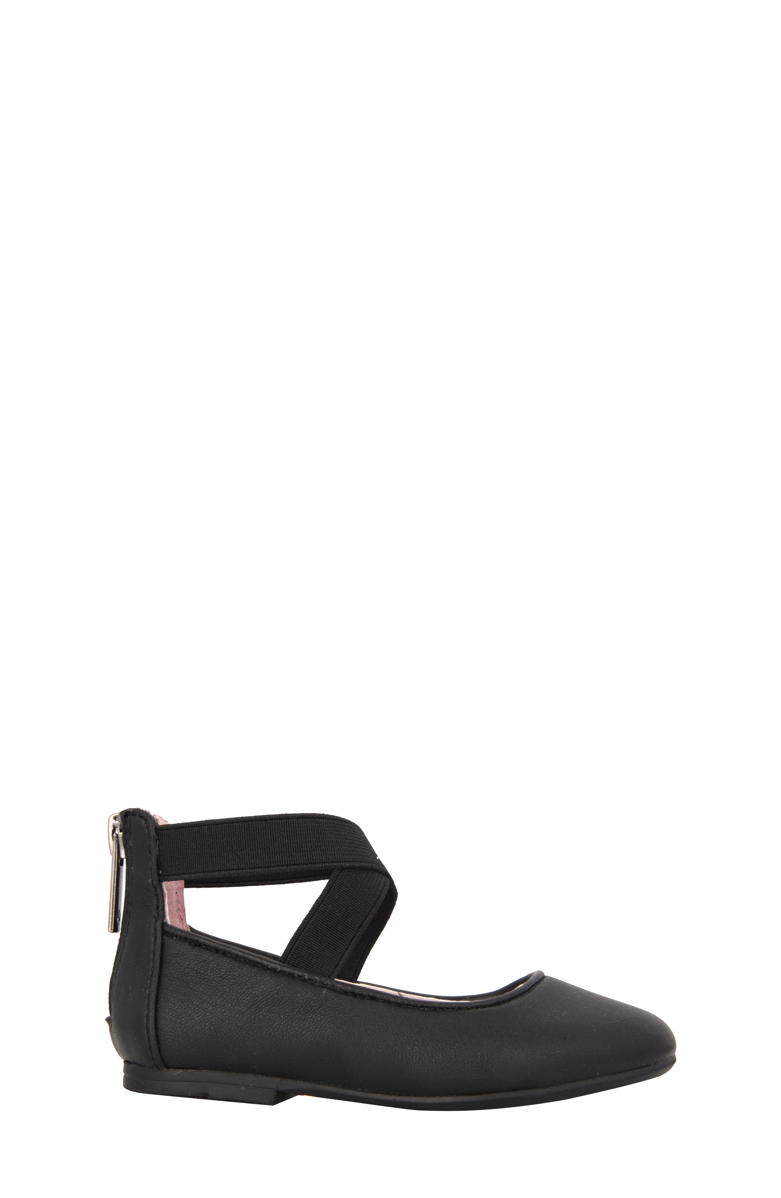 Marissa Cross Strap Flat,                             Alternate thumbnail 3, color,                             Black Faux Leather