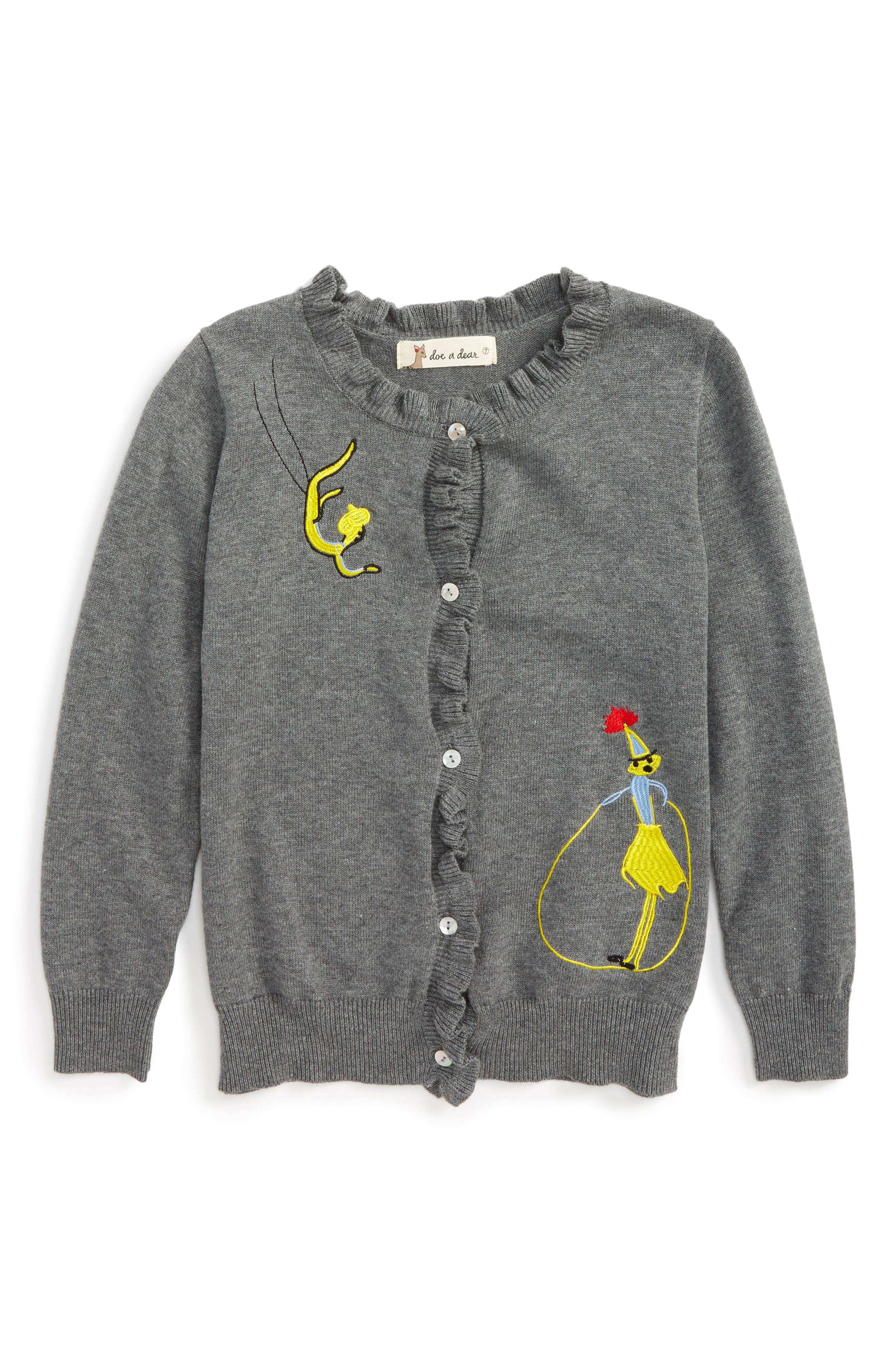 Doe a Dear Embroidered Ruffle Cardigan (Toddler Girls, Little Girls & Big Girls)