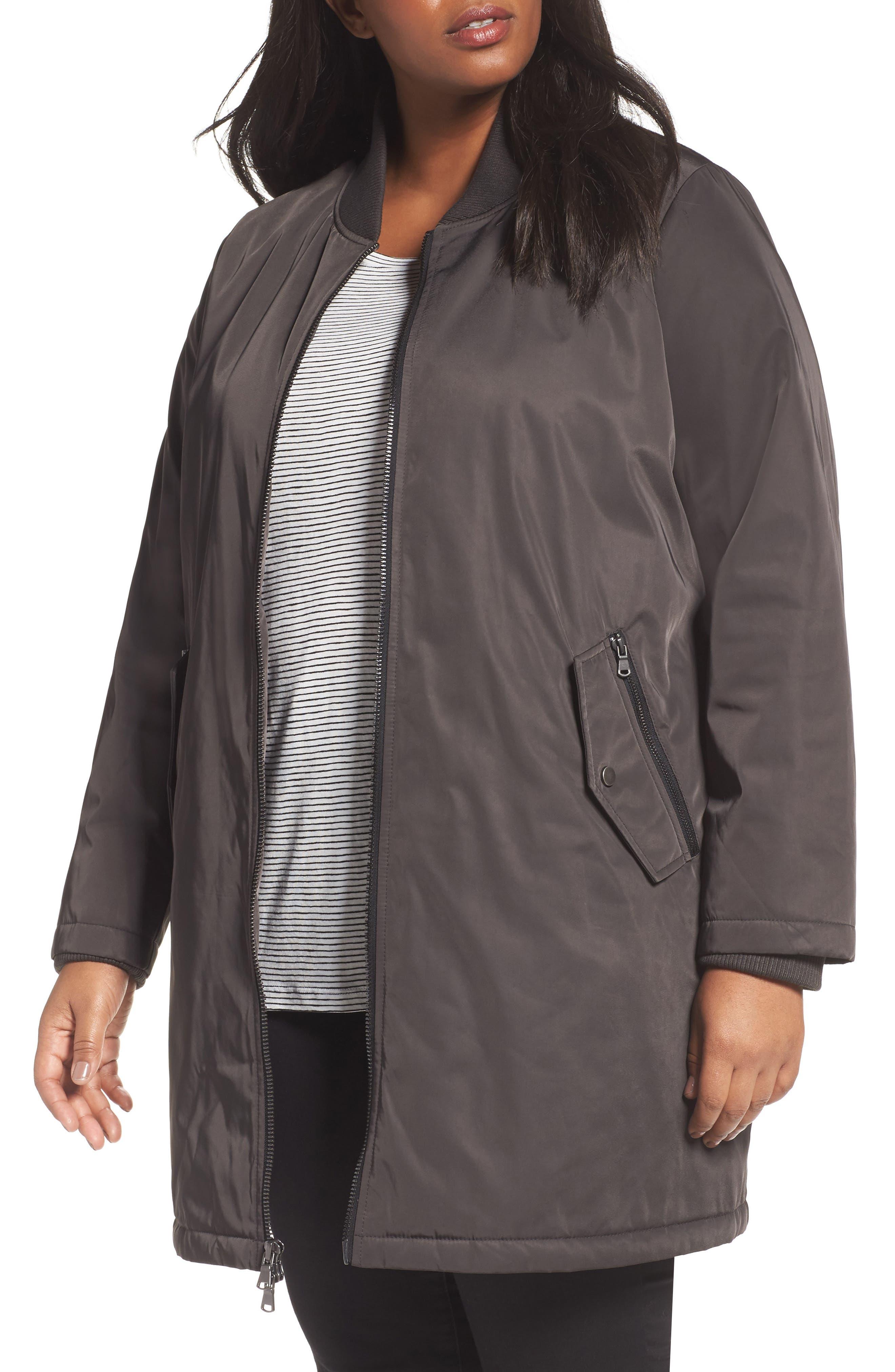 Main Image - Calson® Long Bomber Jacket (Plus Size)