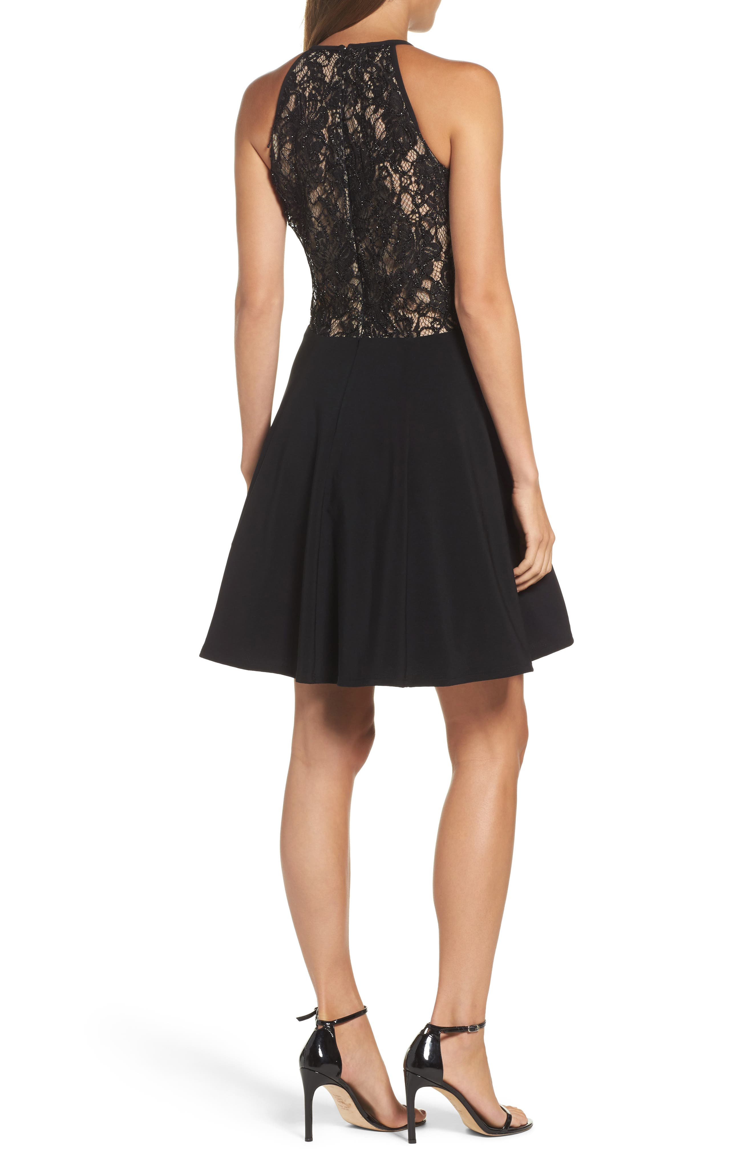 Lace & Jersey Party Dress,                             Alternate thumbnail 2, color,                             Black/ Nude