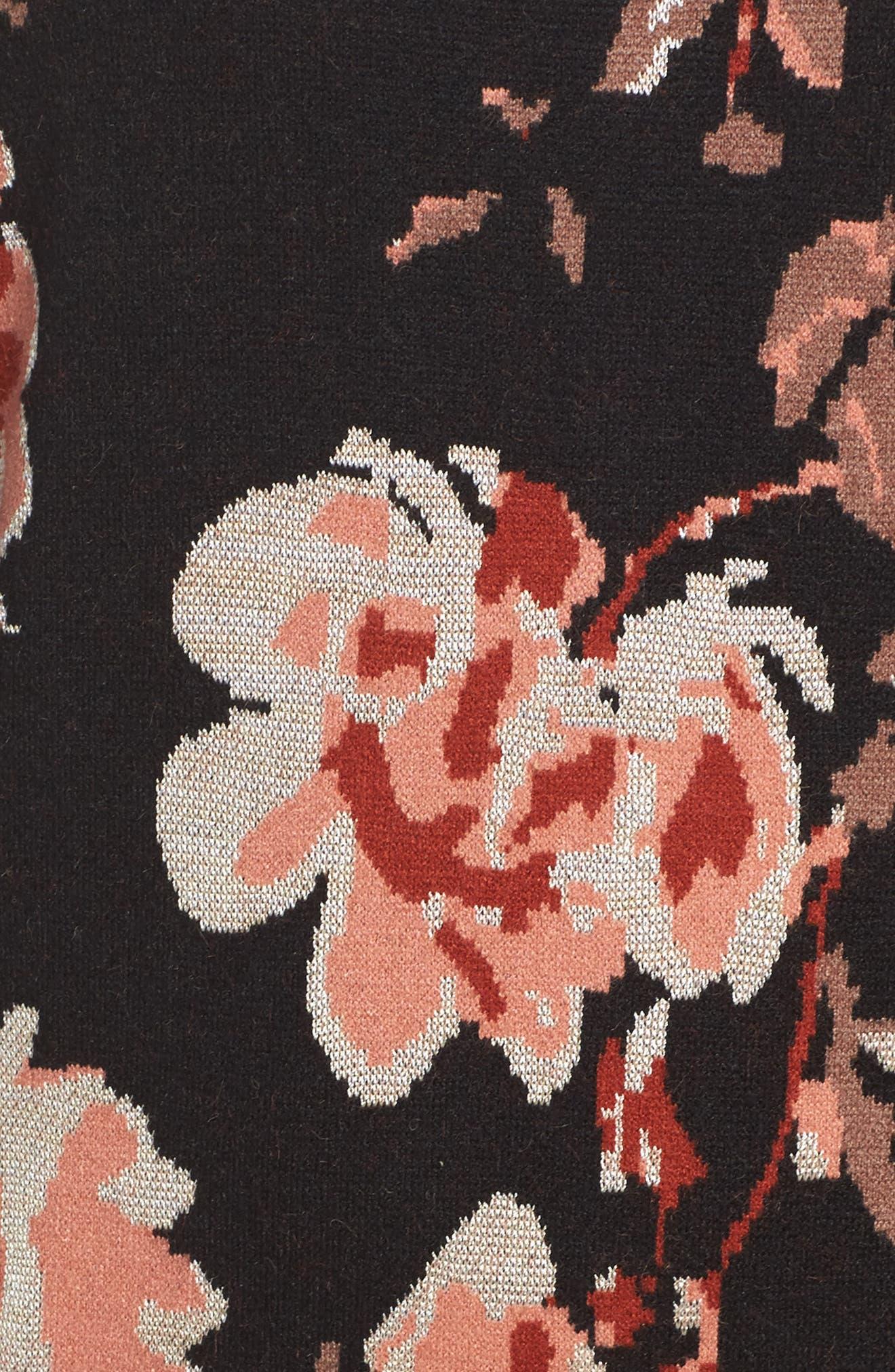 Feeling Myself Mock Neck Sheath Dress,                             Alternate thumbnail 6, color,                             Blushing Rust Roses