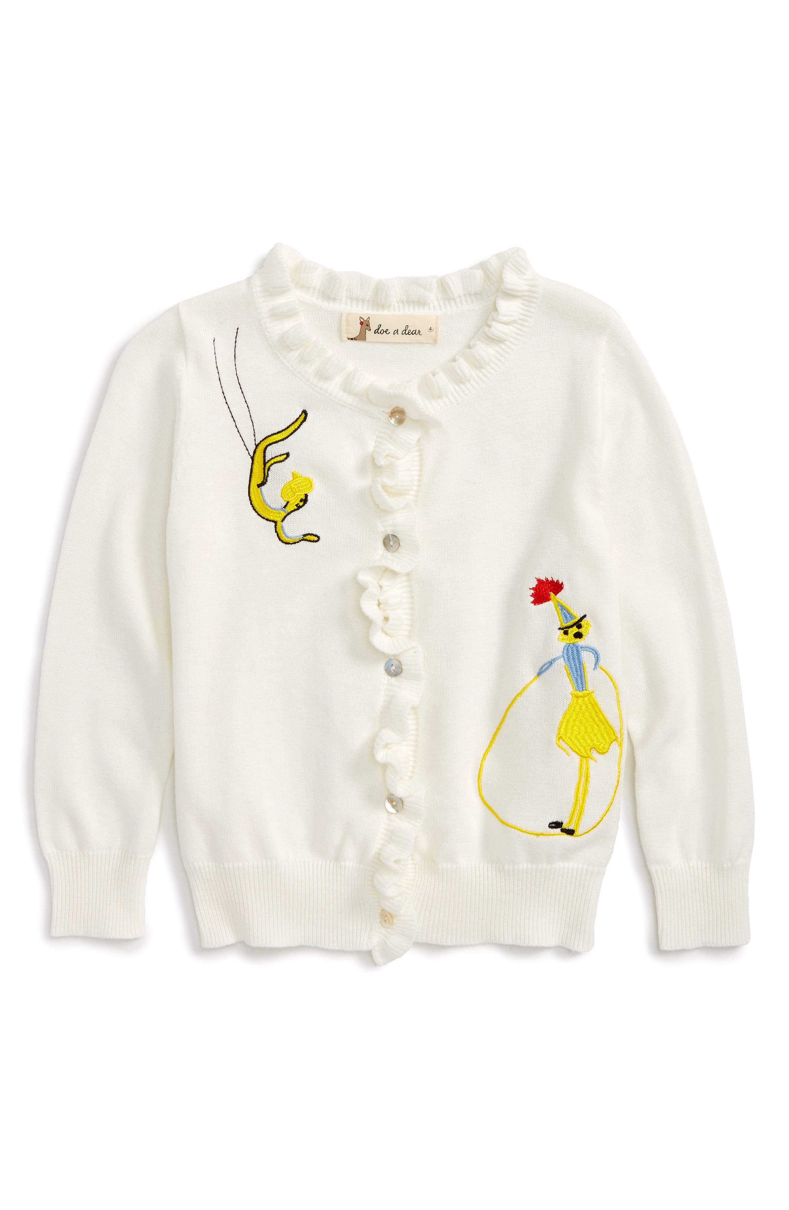 Doe a Dear Embroidered Ruffle Cardigan (Toddler Girls, Little Girls & Big Girls)