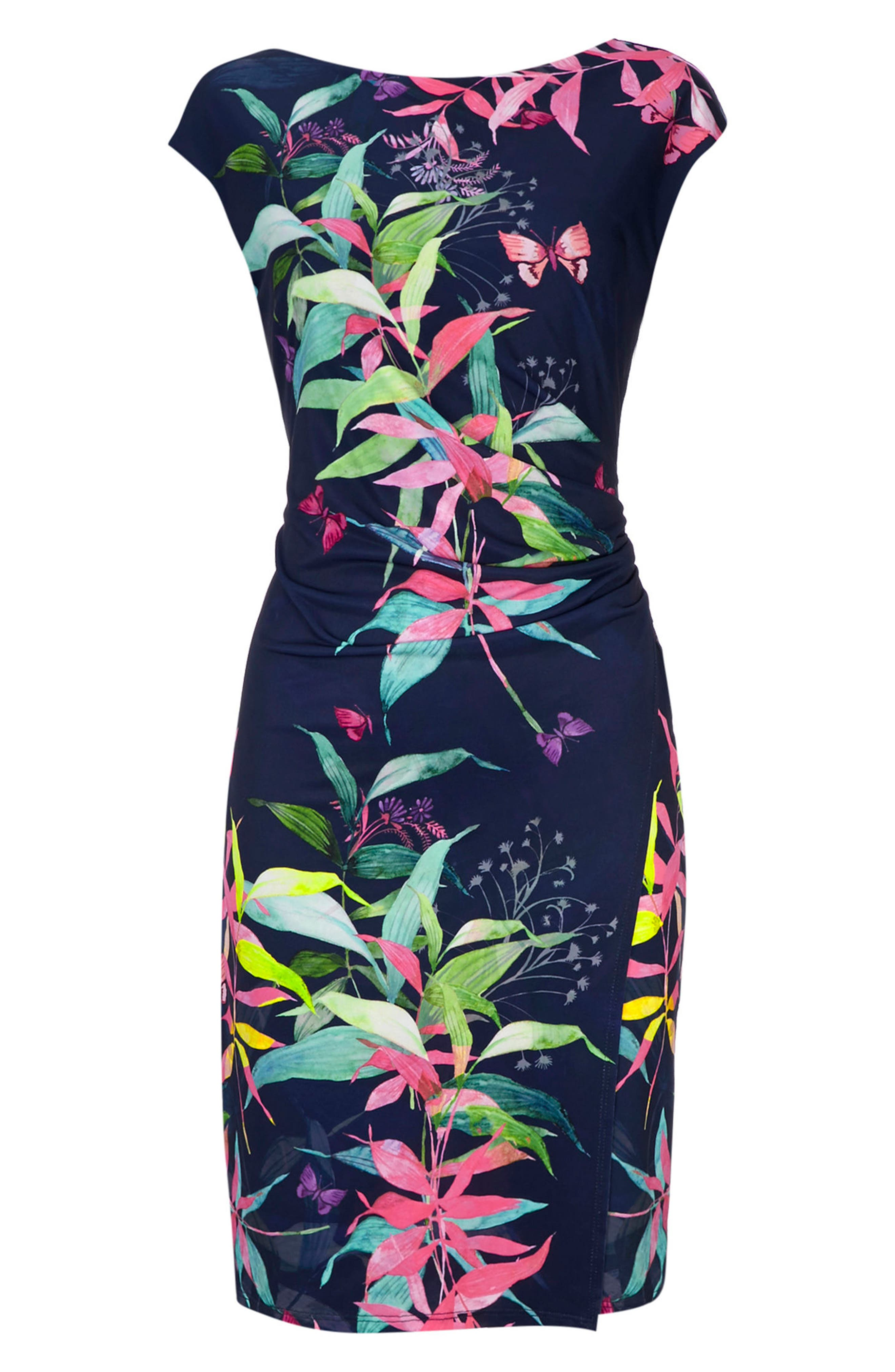 Midnight Blossom Faux Wrap Dress,                             Alternate thumbnail 5, color,                             Ink