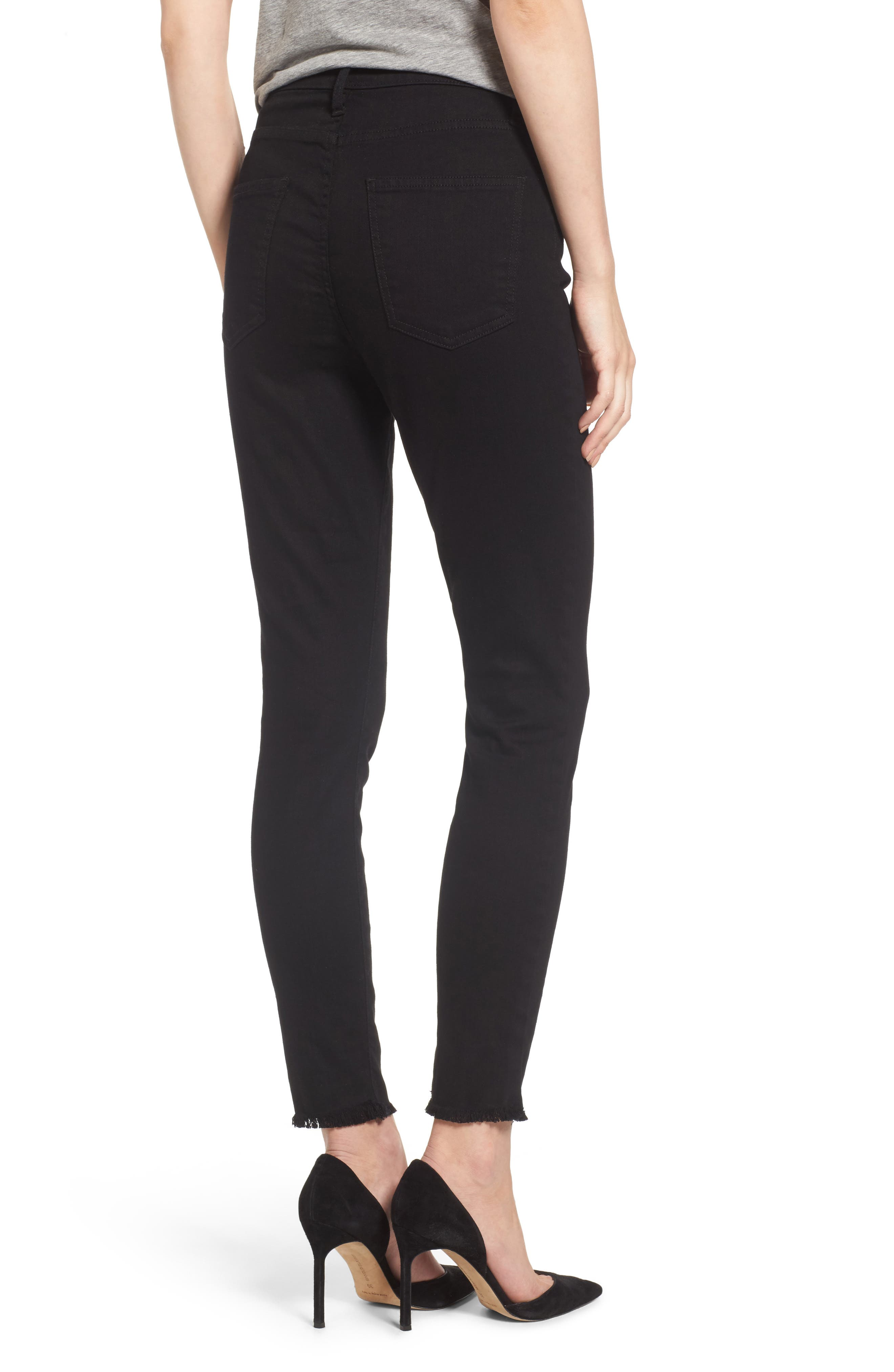 Alternate Image 2  - Current/Elliott The Super High Waist Stiletto Ankle Skinny Jeans (Jet Black)